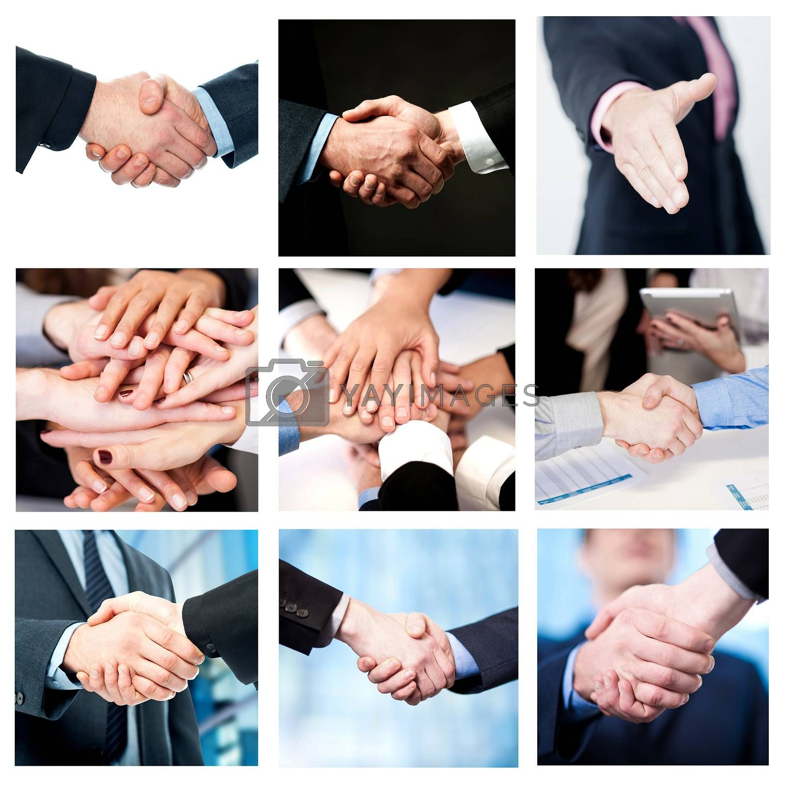 Collage of business deals and team work efforts