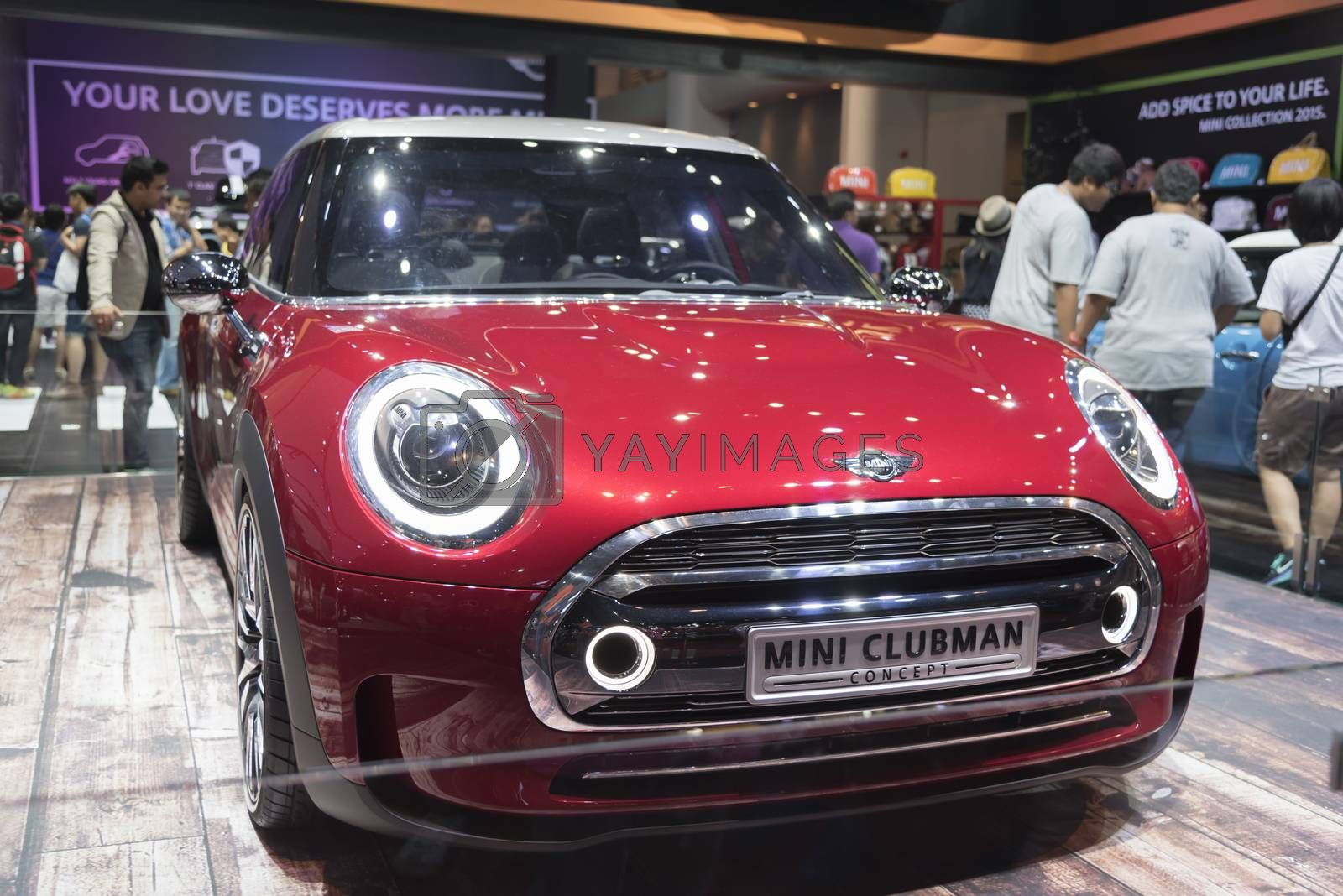 BANGKOK,THAILAND - APRIL 4 : car brand mini on April 4,2015 at the 36th Bangkok international motor show in Thailand.Red color of mini clubman car