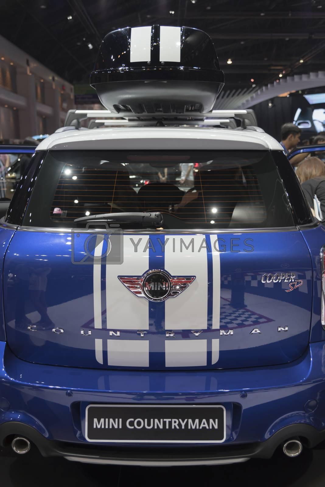 BANGKOK,THAILAND - APRIL 4 : car brand mini on April 4,2015 at the 36th Bangkok international motor show in Thailand.Blue color of mini countryman car brand.