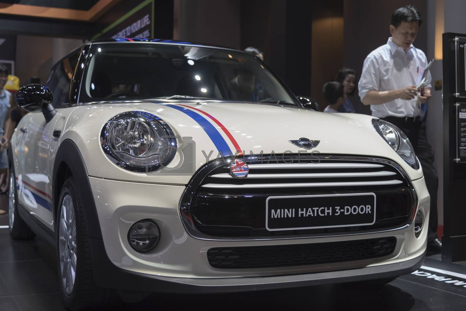 BANGKOK,THAILAND - APRIL 4 : car brand mini on April 4,2015 at the 36th Bangkok international motor show in Thailand.White color of mini hatch 3-door car brand.