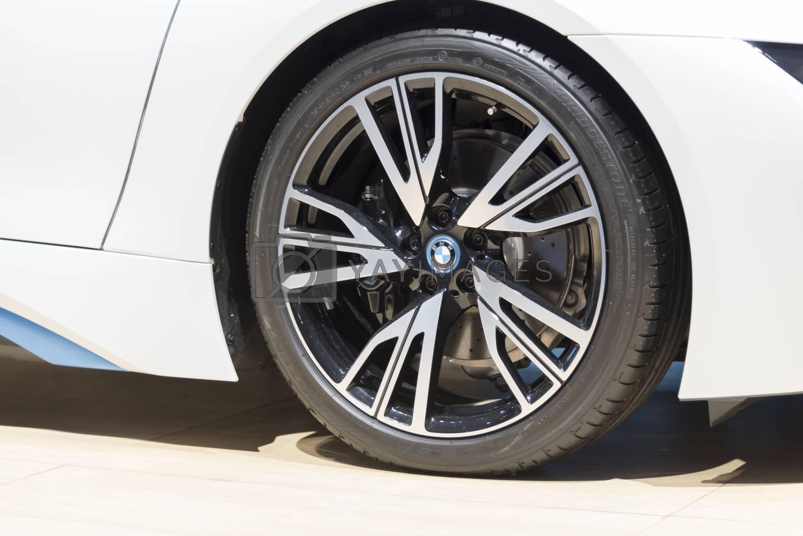 BANGKOK,THAILAND - APRIL 4 : Close up BMW car on April 4,2015 at the 36th Bangkok international motor show in Thailand.
