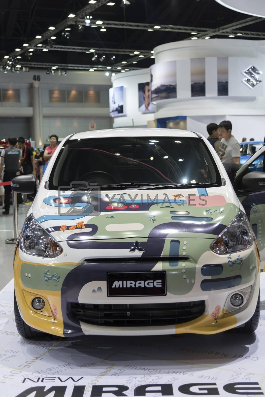 BANGKOK,THAILAND - APRIL 4 : mitsubishi mirage show on April 4,2015 at the 36th Bangkok international motor show in Thailand.