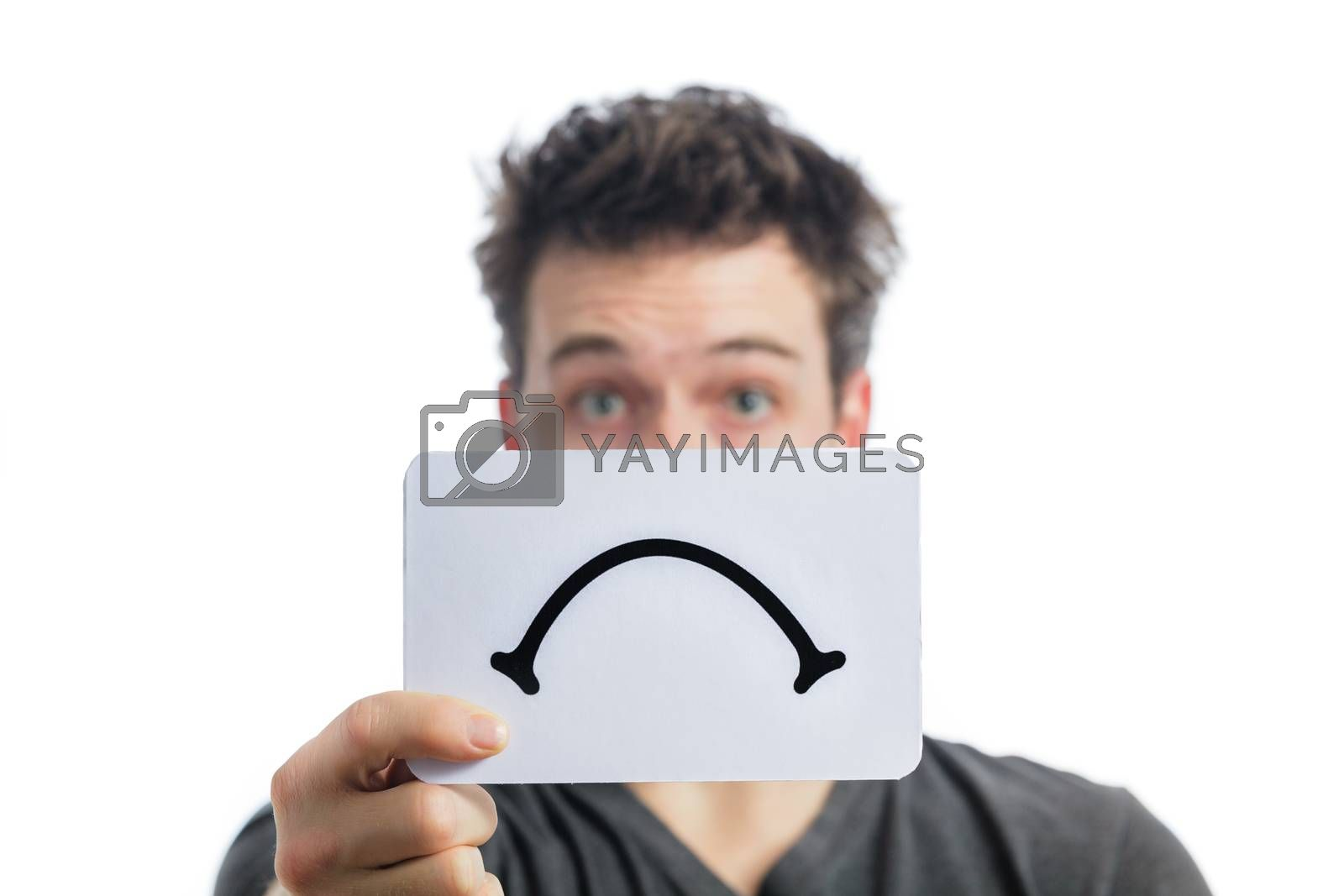 Unhappy Portrait of a Man Holding a Sad Mood Board Isolated on White Background