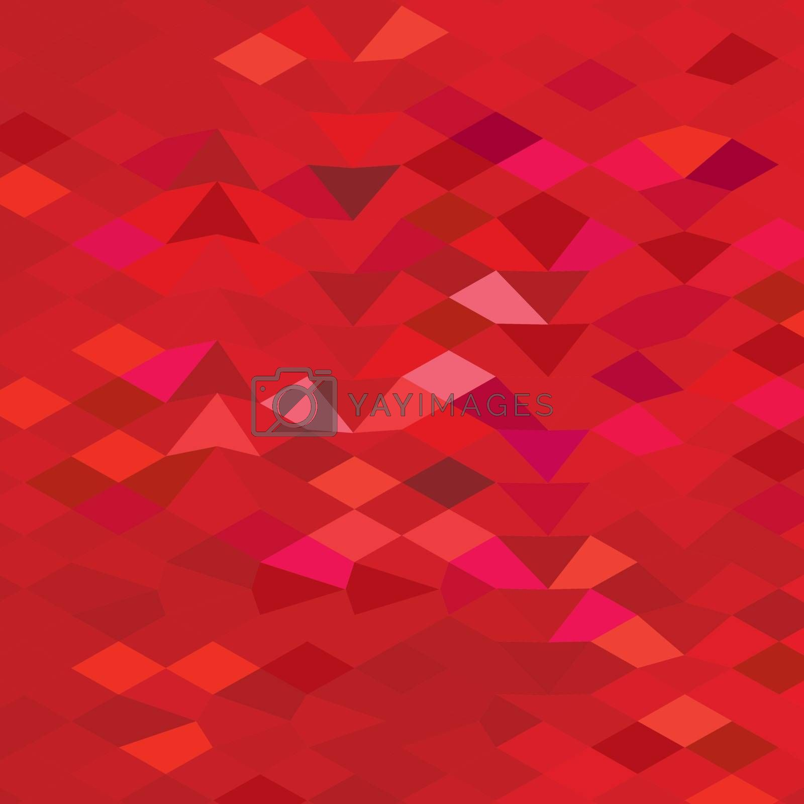 Low polygon style illustration of an imperial red abstract geometric background.