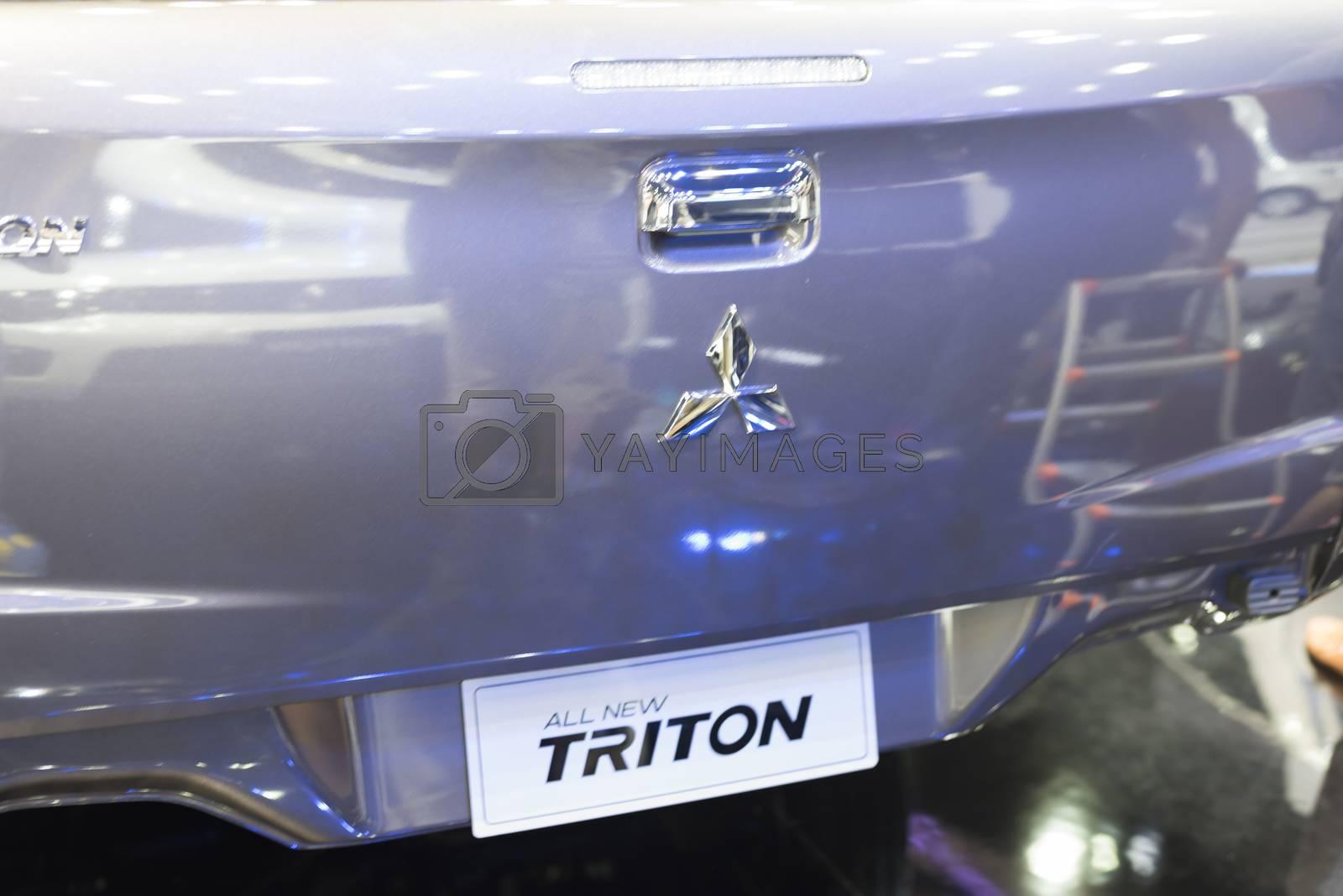 BANGKOK,THAILAND - APRIL 4 : mitsubishi triton show on April 4,2015 at the 36th Bangkok international motor show in Thailand.
