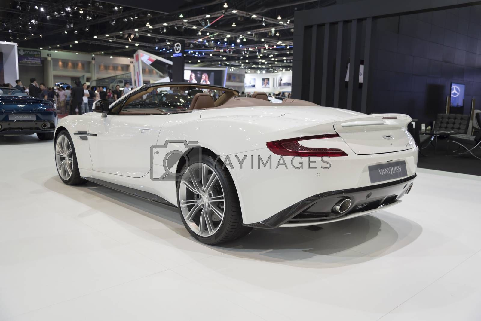 BANGKOK,THAILAND - APRIL 4 : Aston Martin vanquish show on April 4,2015 at the 36th Bangkok international motor show in Thailand.