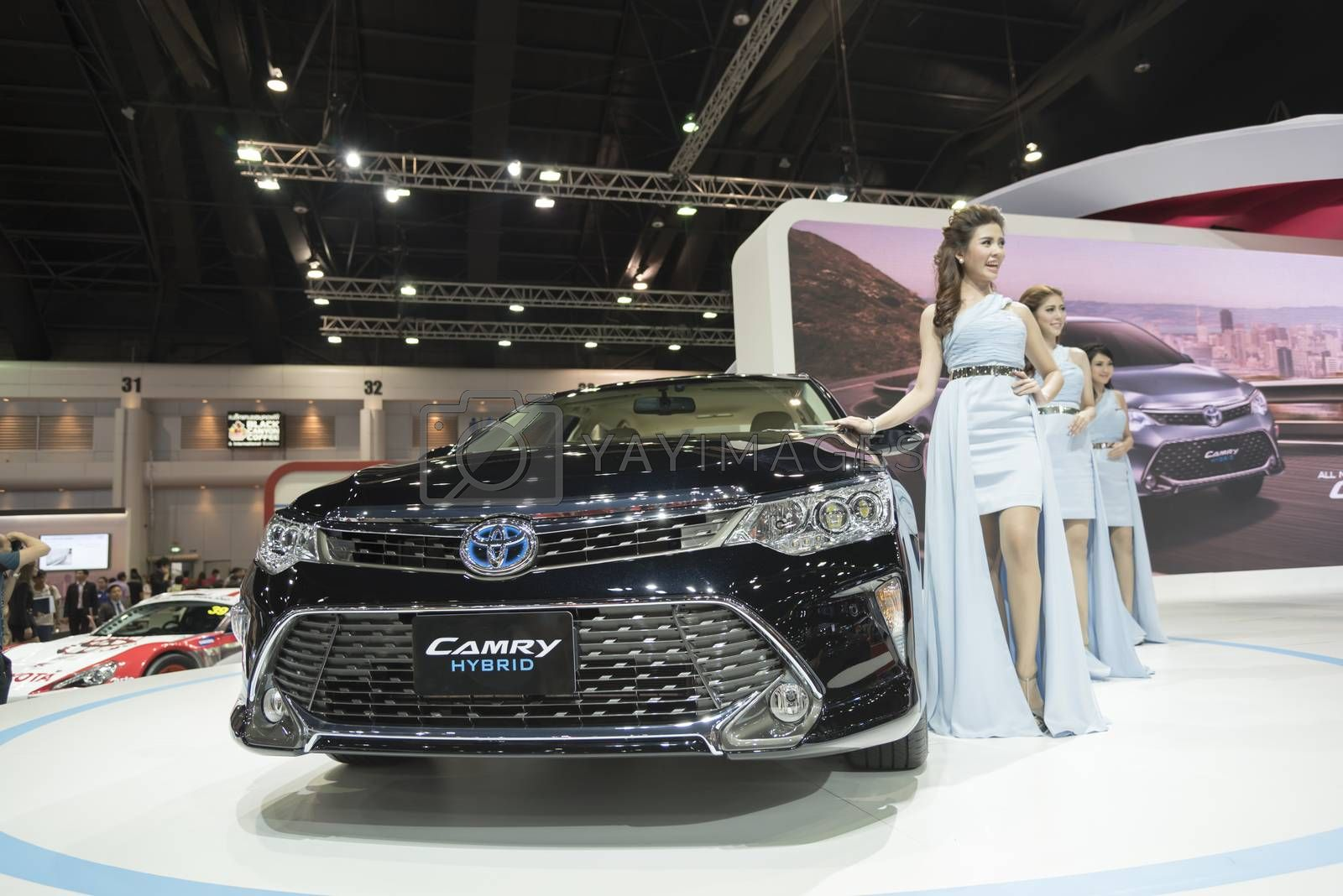 BANGKOK,THAILAND - APRIL 4 : new toyota camry show on April 4,2015 at the 36th Bangkok international motor show in Thailand.