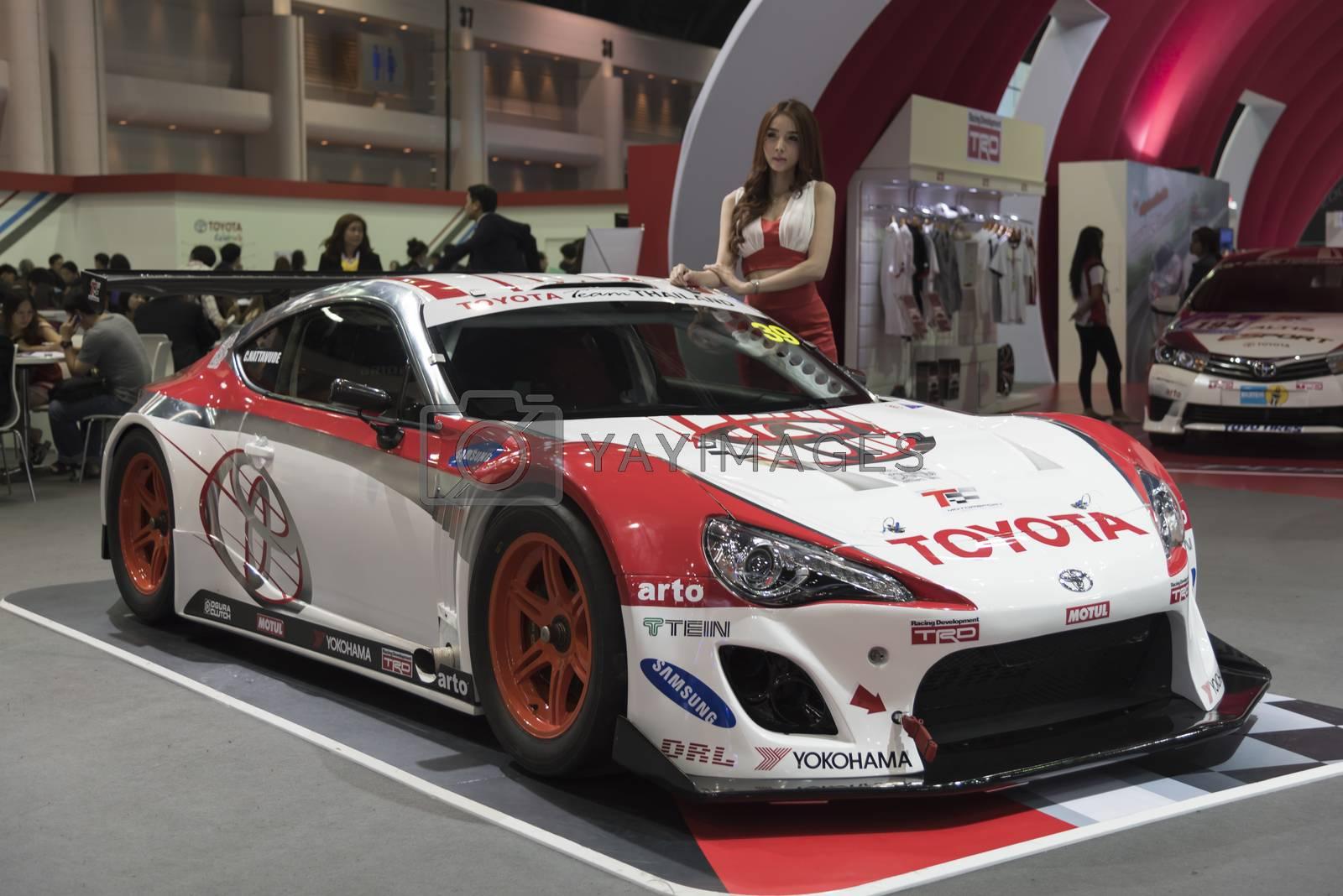 BANGKOK,THAILAND - APRIL 4 : toyota racing show on April 4,2015 at the 36th Bangkok international motor show in Thailand.