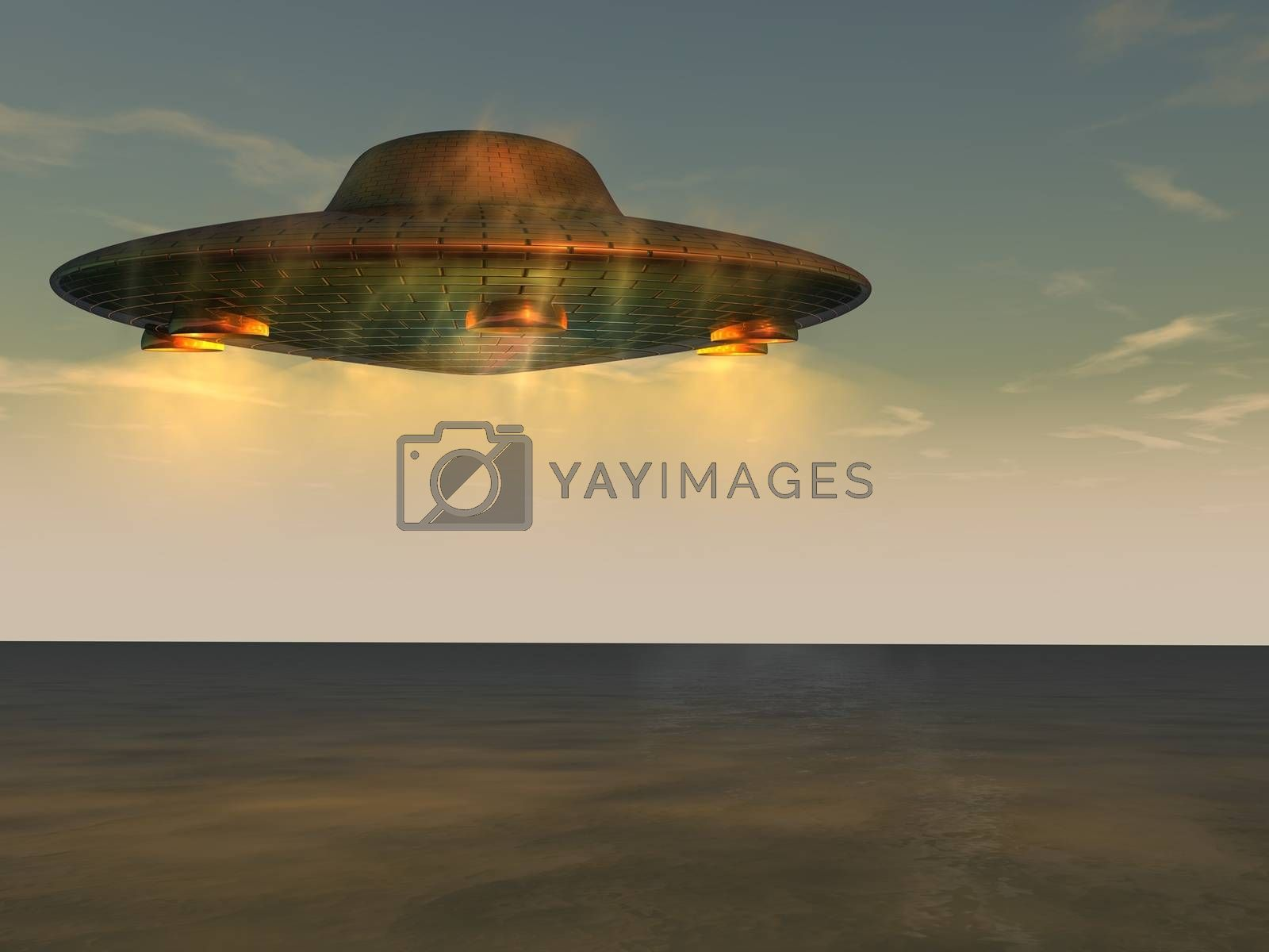 Computer generated 3D illustration of UFO - Unidentified Flying Object on the sky above the sea level. Theme of visit from space, future of technology, scifi.
