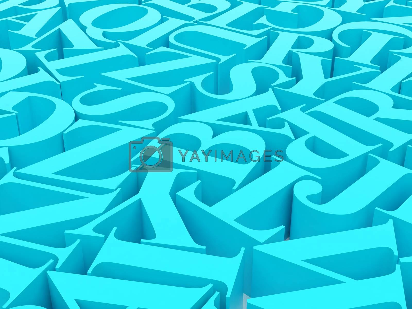 High resolution image. 3d rendered illustration. Background of alphabets.