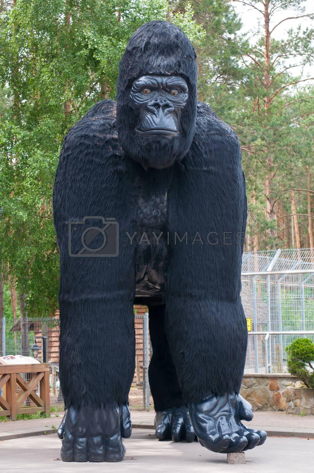 Sculpture big black gorilla around the zoo in Poland.