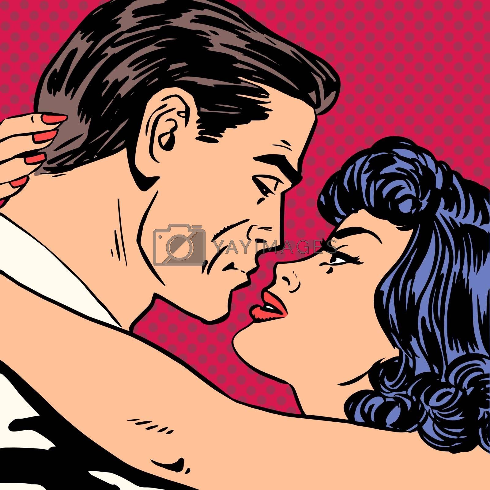 Kiss love movie romance heroes lovers man and woman pop art comics retro style Halftone. Imitation of old illustrations. Actors during love scenes.