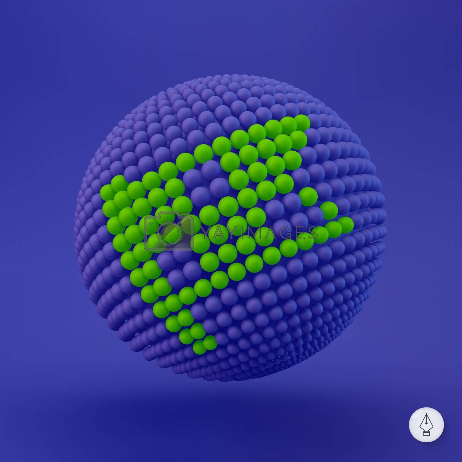 Flag icon. Can be used as web sign, design element. Vector illustration. 3D pixel art.