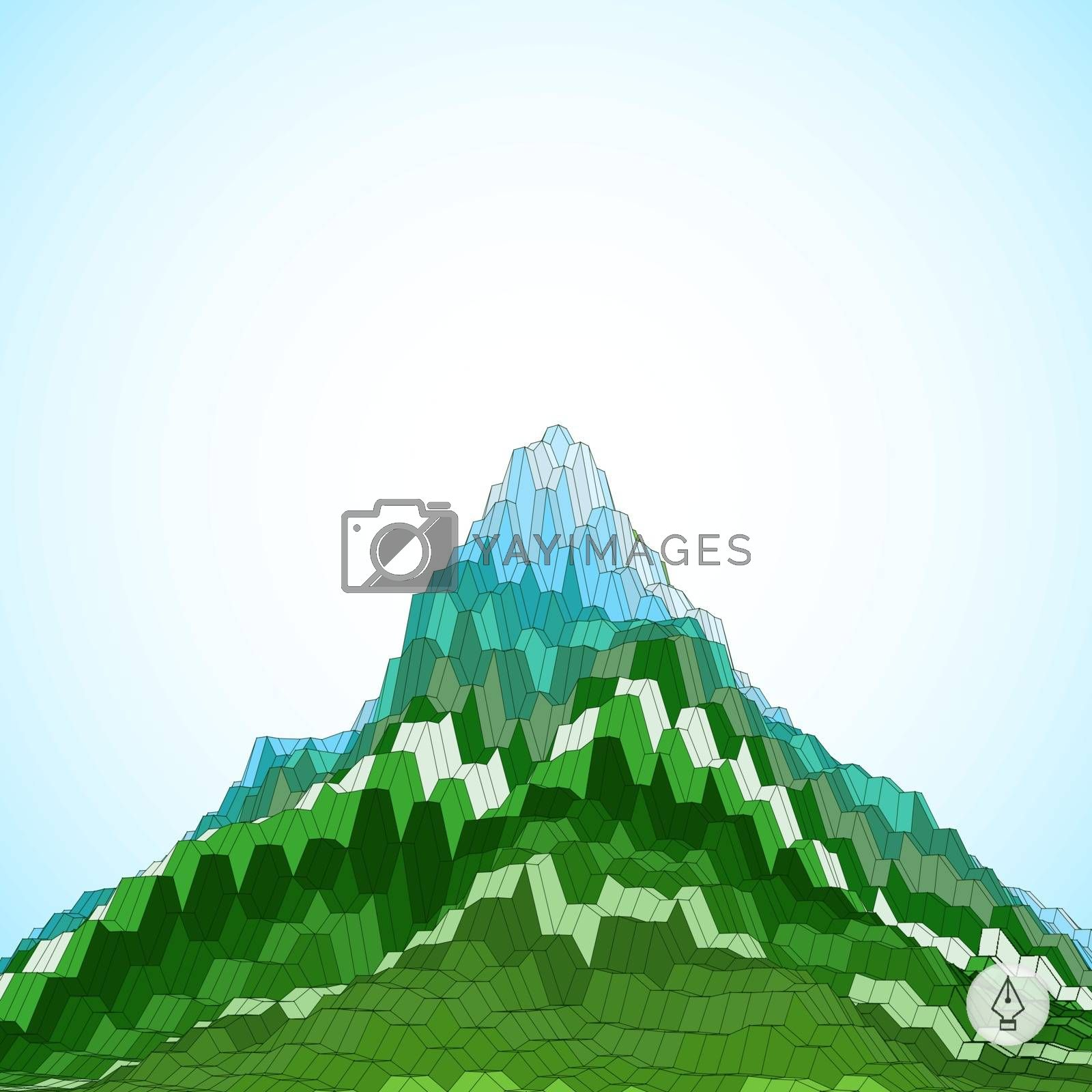 Abstract background with mountain. Mosaic. 3d vector illustration. Can be used for wallpaper, web page background, web banners.