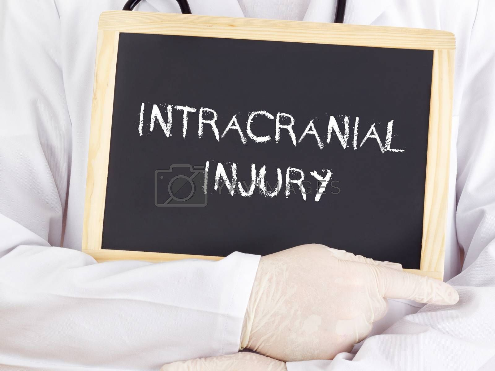 Doctor shows information on blackboard: intracranial injury