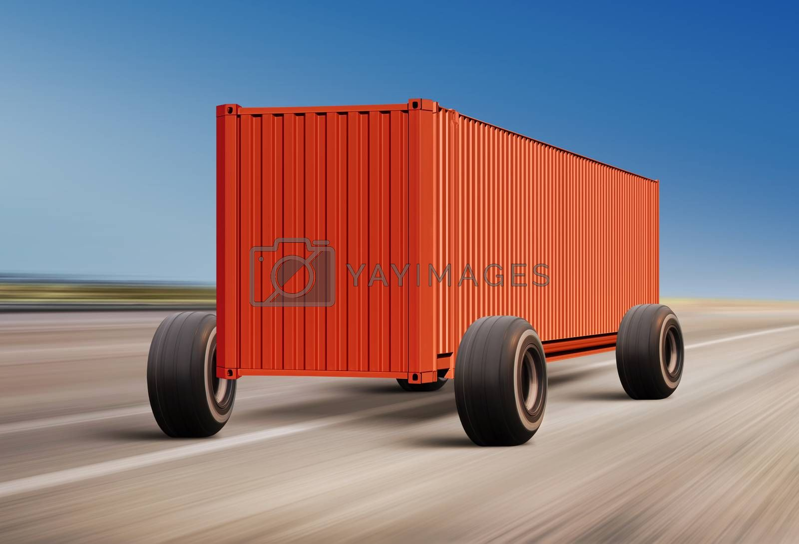 container moving on road, cargo transportation