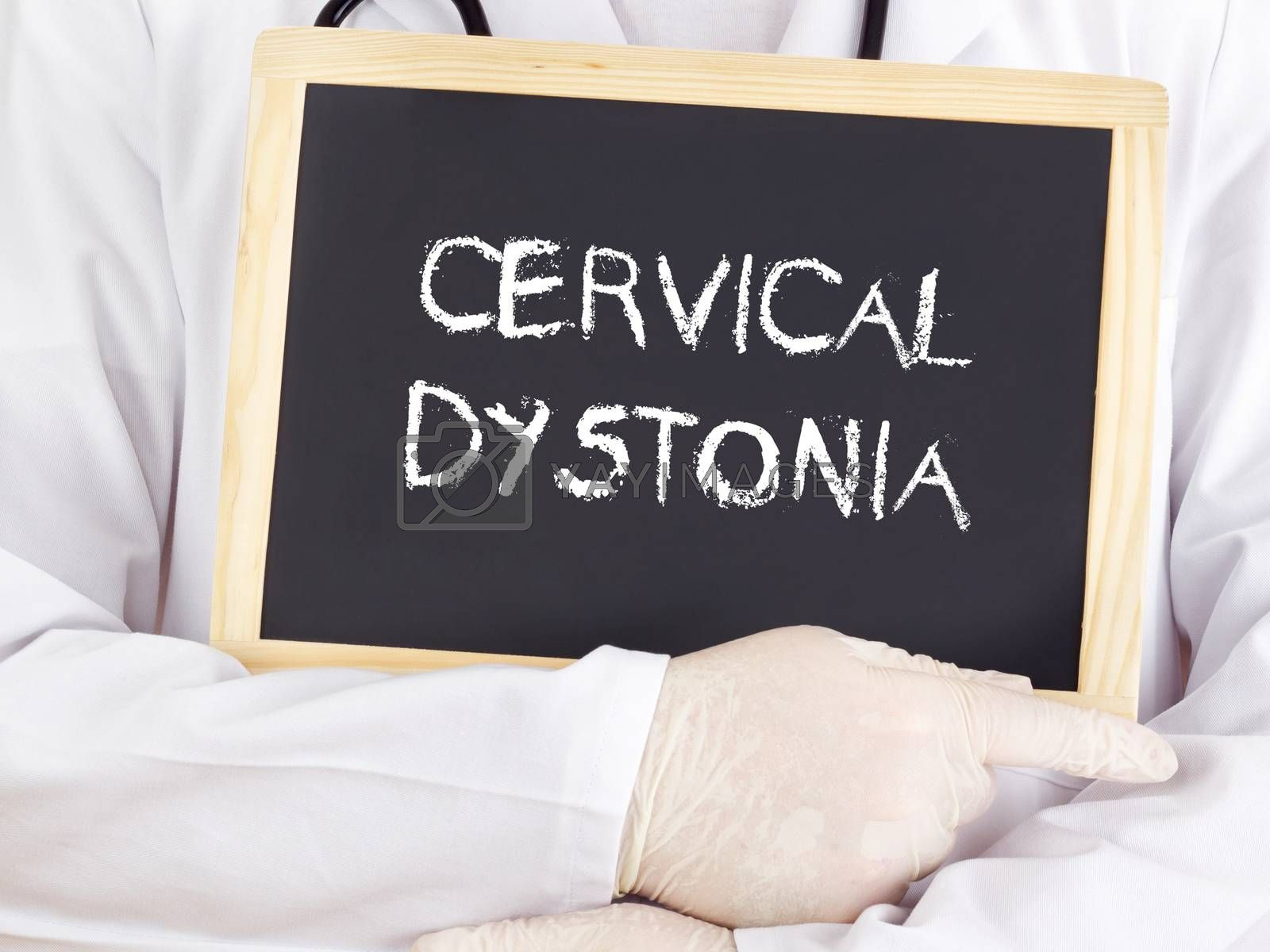 Doctor shows information on blackboard: Cervical dystonia