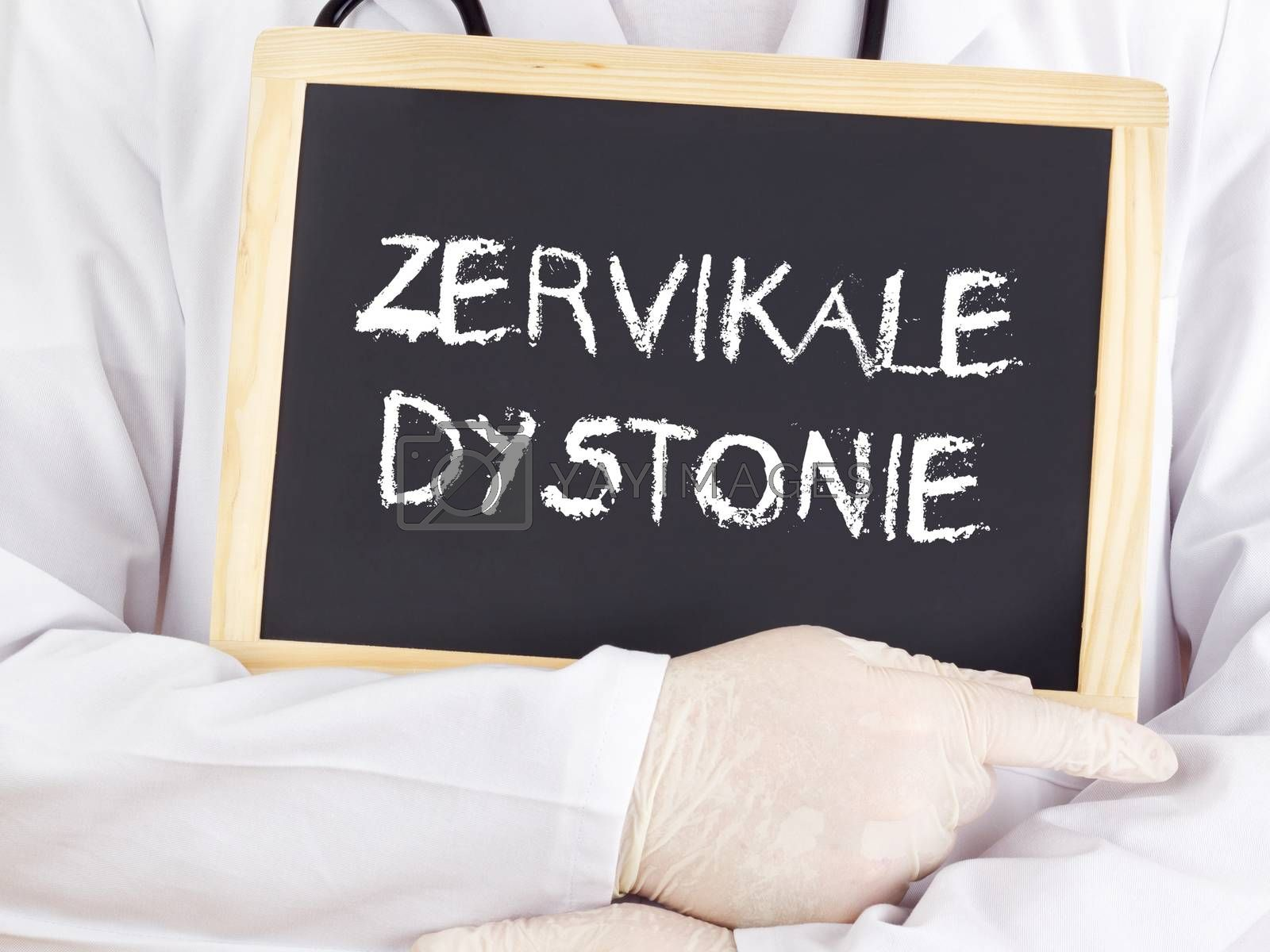 Doctor shows information: Cervical dystonia in german