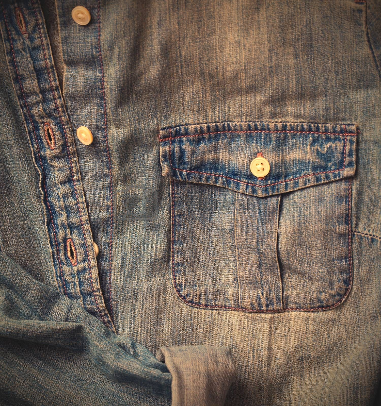 Jeans shirt close up, part of. instagram image retro style