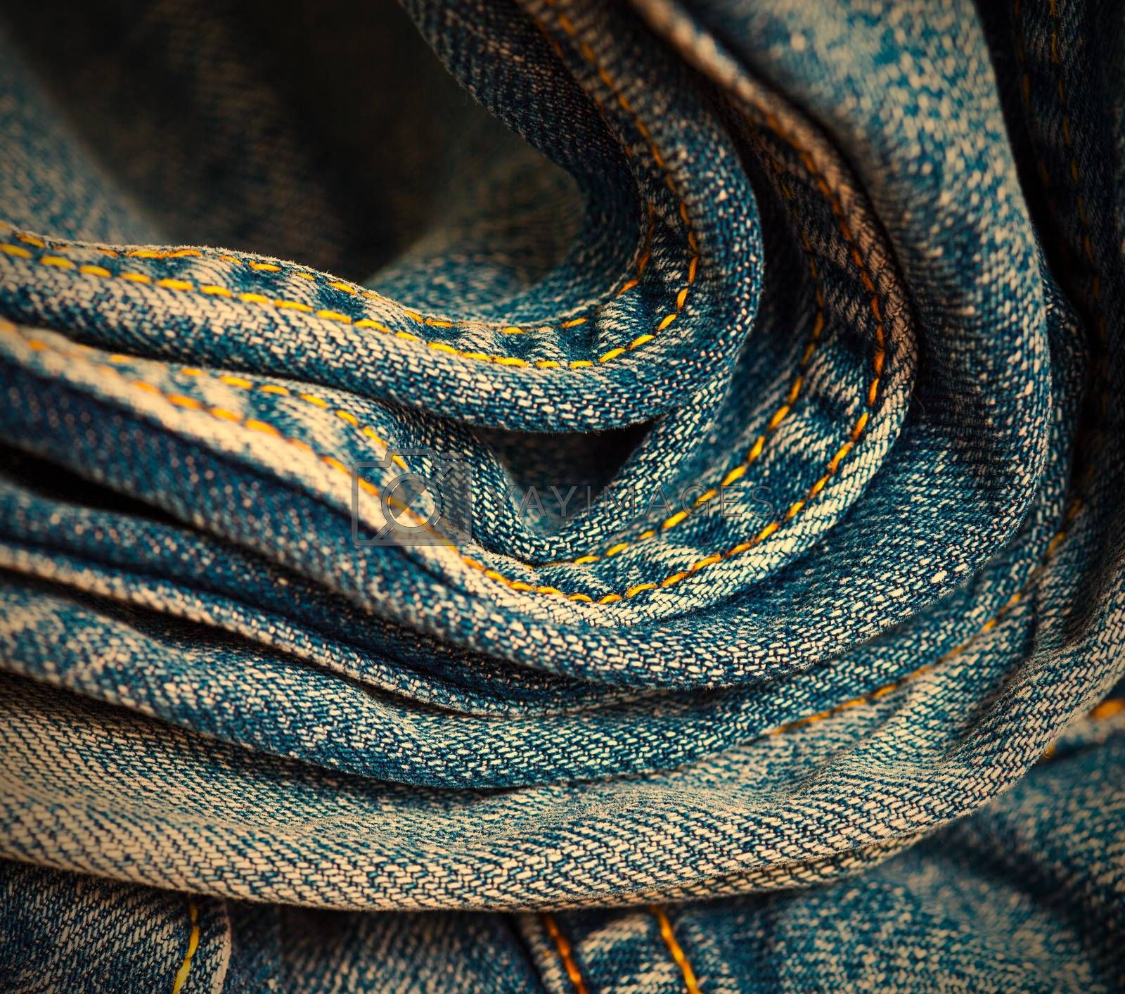 aged blue jeans with seams,  part of. instagram image retro style