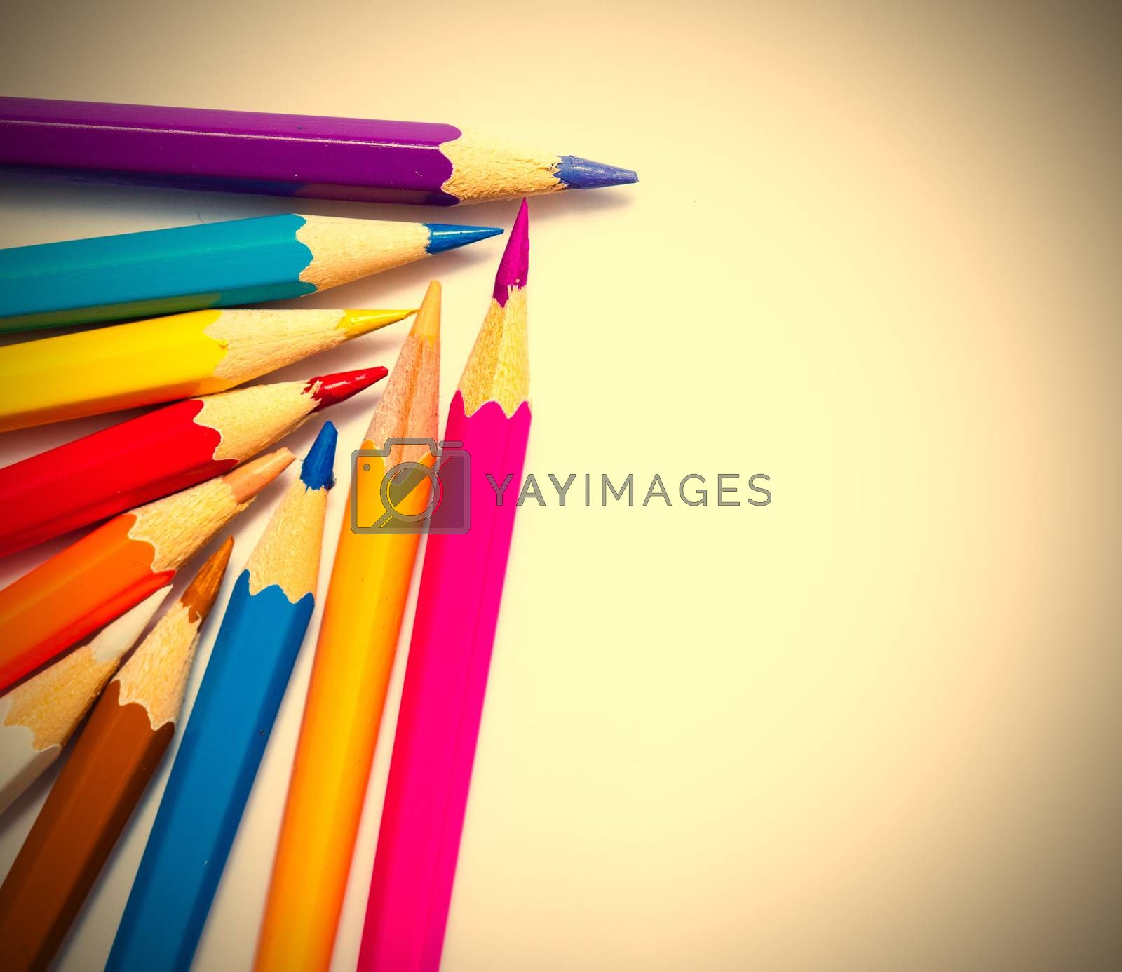 Royalty free image of set of colored pencils on white background by Astroid