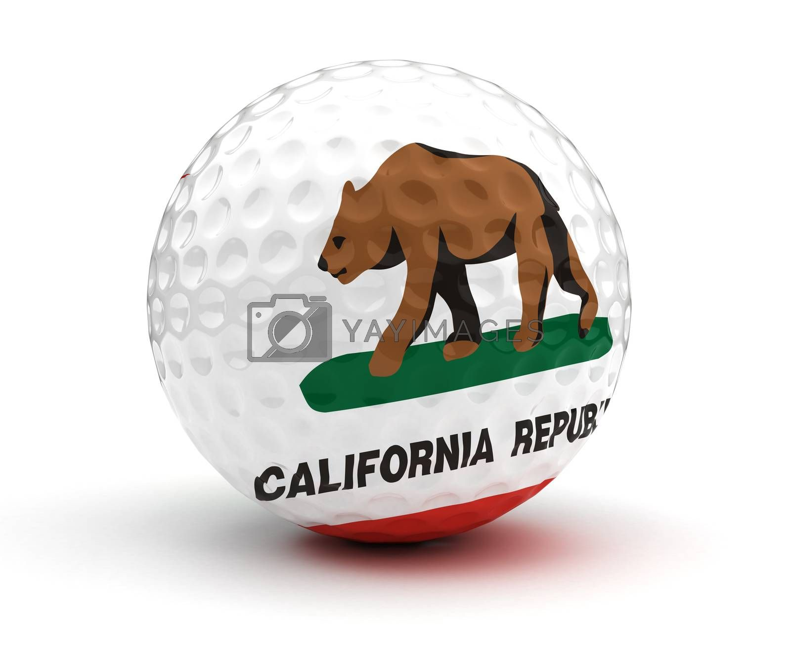 California Golf Ball (Isolated with clipping path)