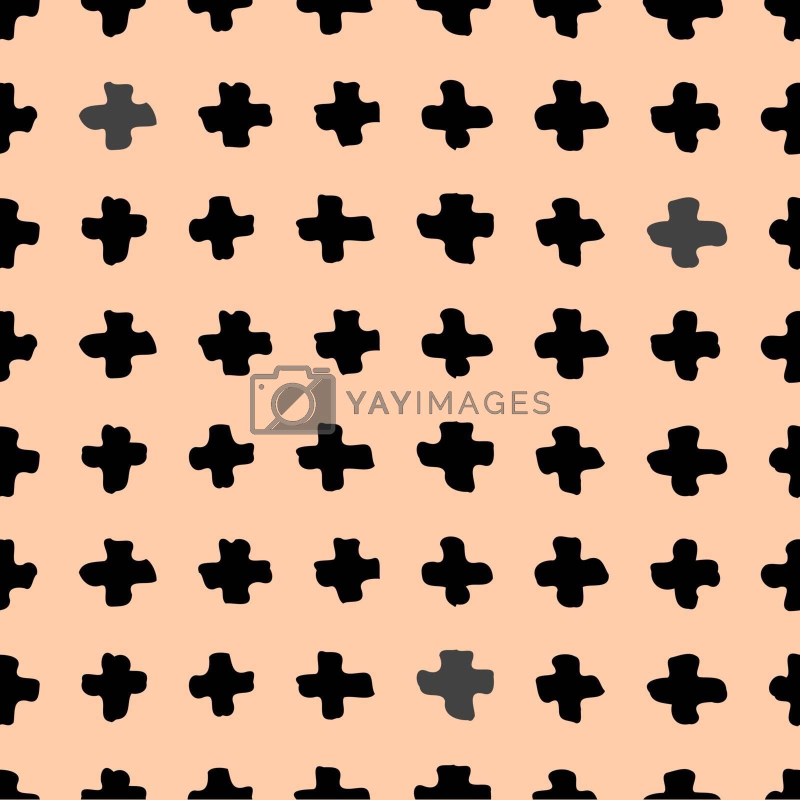 Hand drawn abstract seamless repeat pattern with cross shapes in black on a pastel pink background.