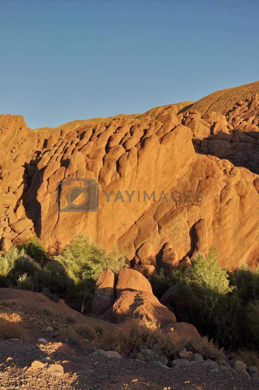 Strange rock formations in Dades Gorge, Morocco, Africa