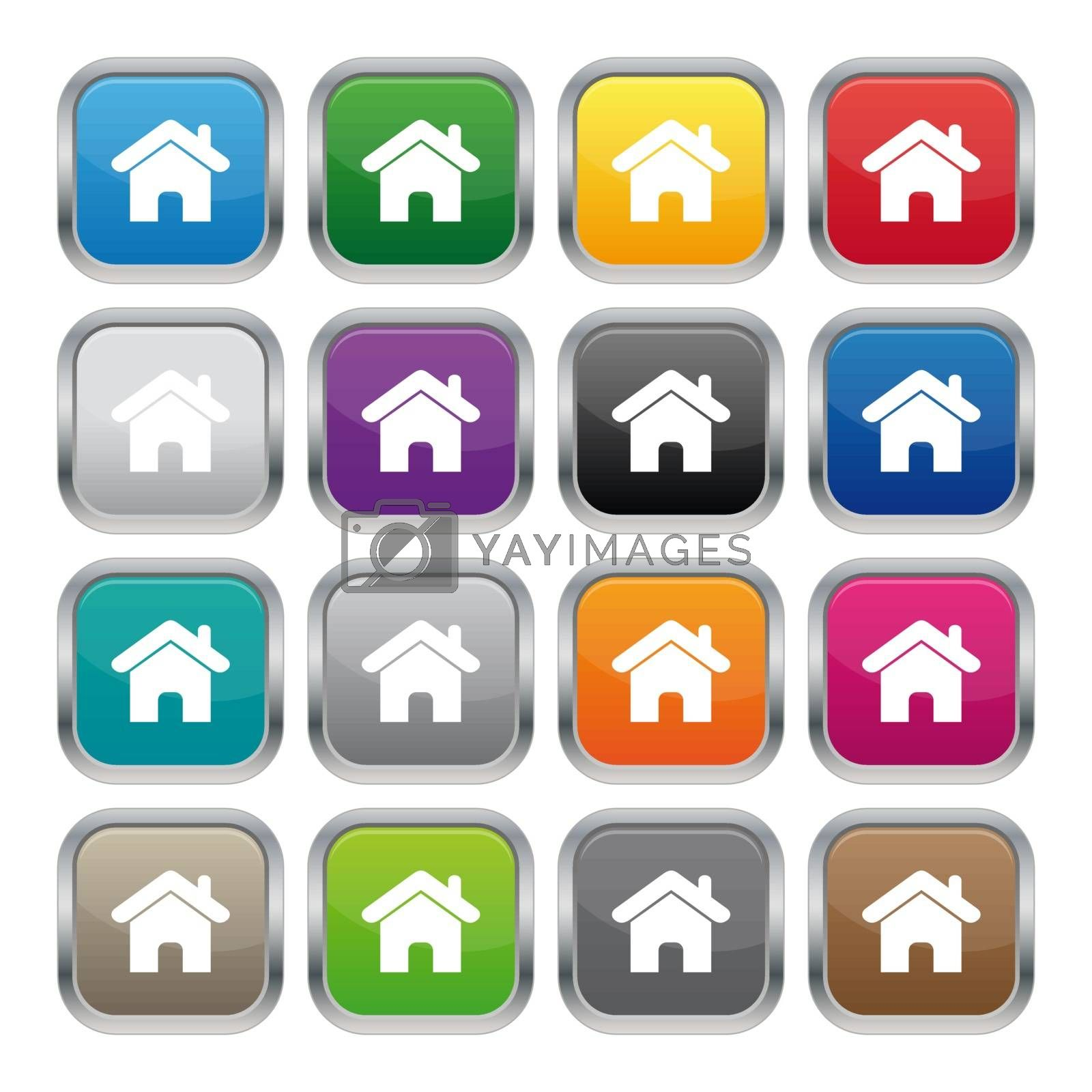 Royalty free image of Home metallic square buttons by simo988