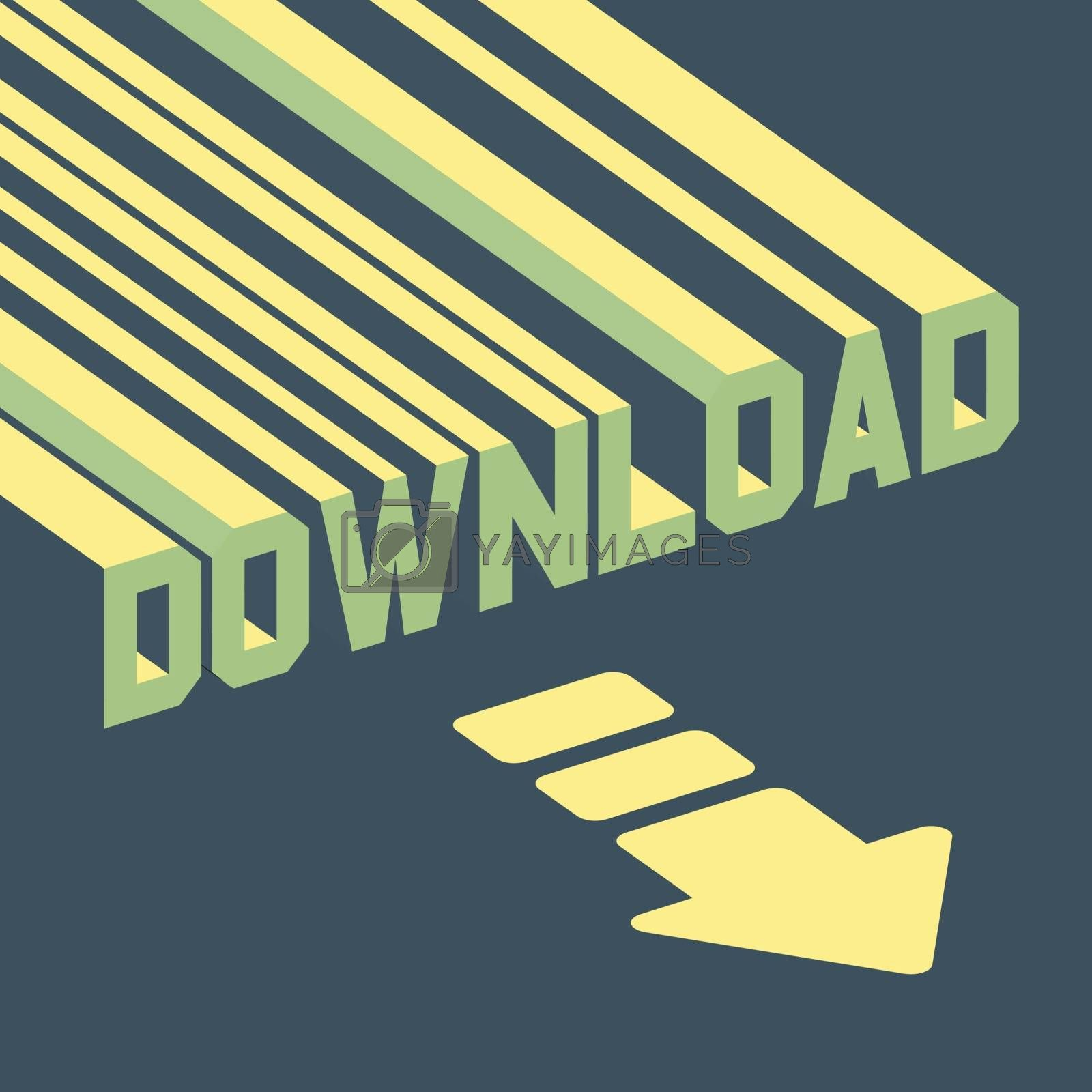 The word download with an arrow. 3d vector illustration.  Can be used for wallpaper, web page background, web banners.