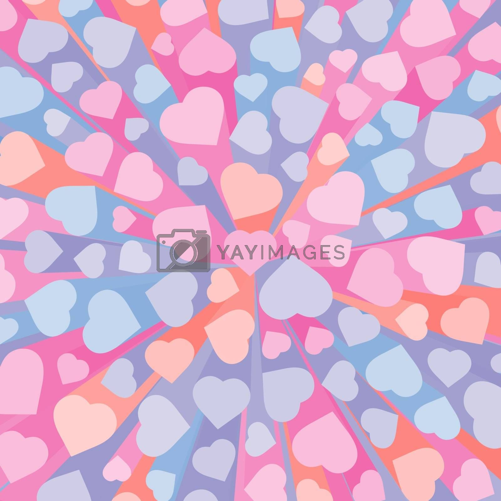 Abstract 3D background with colorful hearts.  Vector illustration for romantic nostalgia design. Love symbol. Valentines heart.