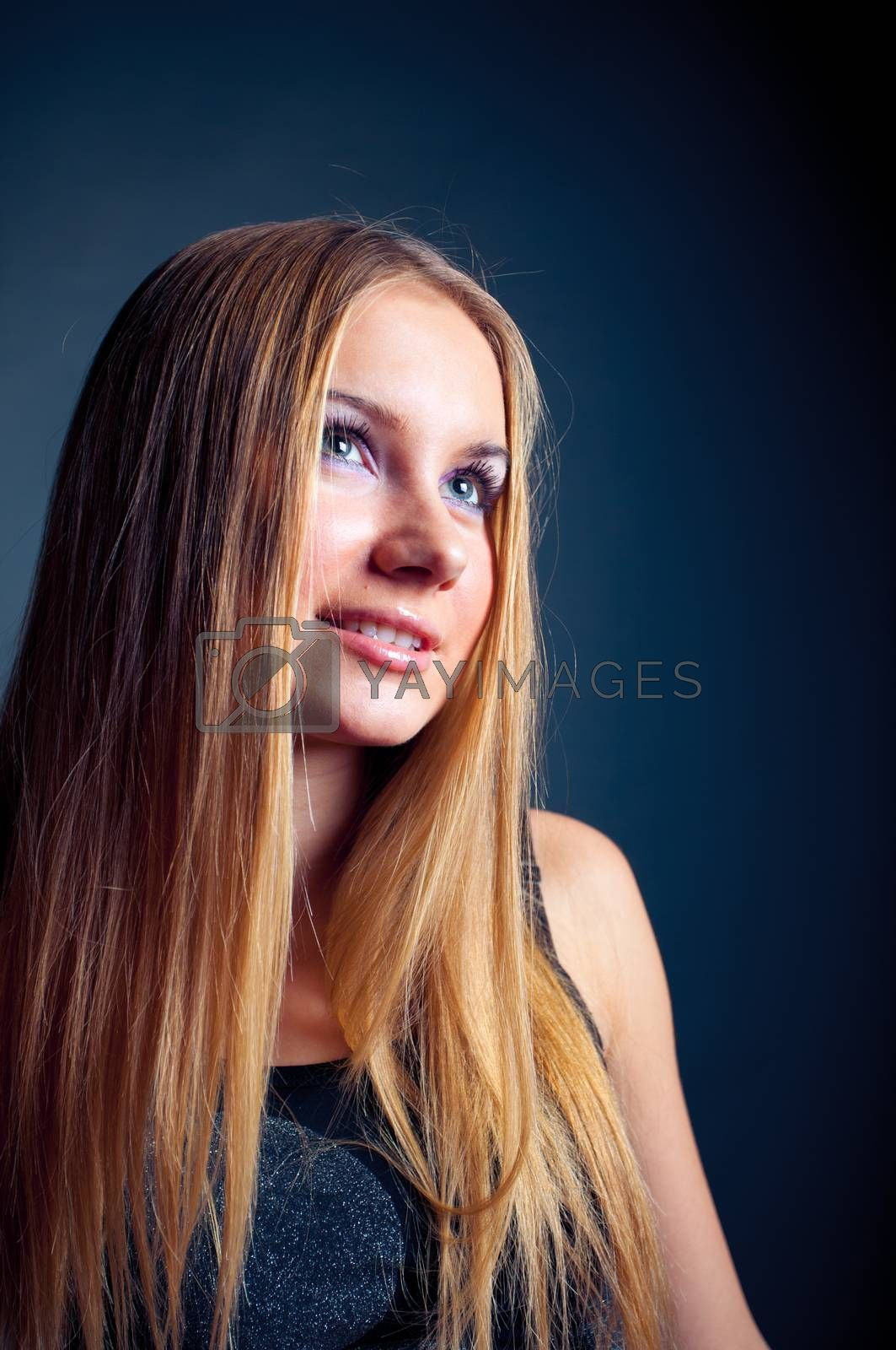 young romance woman look sideway