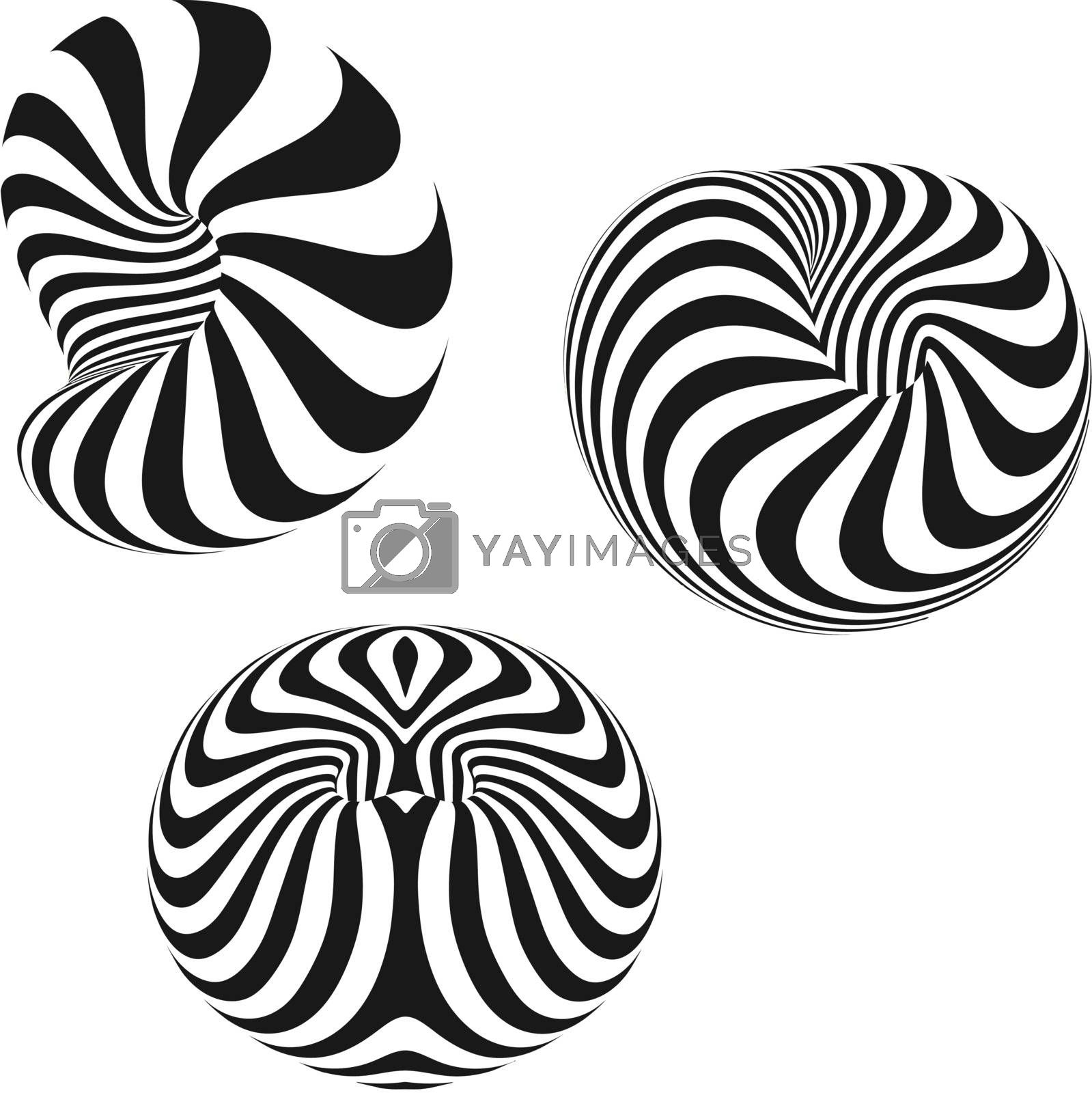 Set of abstract 3d vector icons such emblems. Abstract geometric shape. Optical Art.
