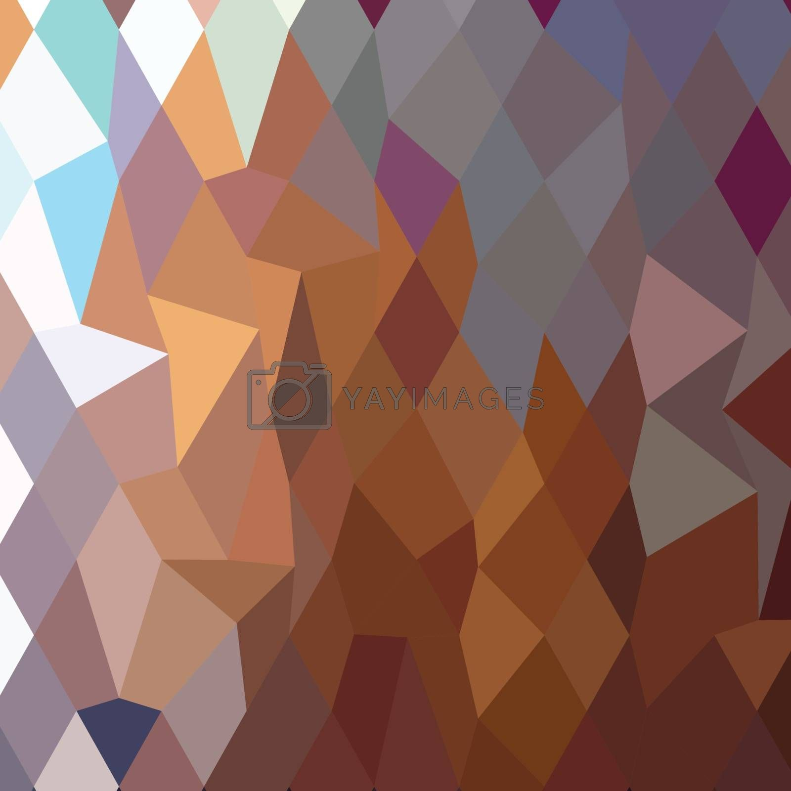Low polygon style illustration of cocoa brown abstract geometric background.