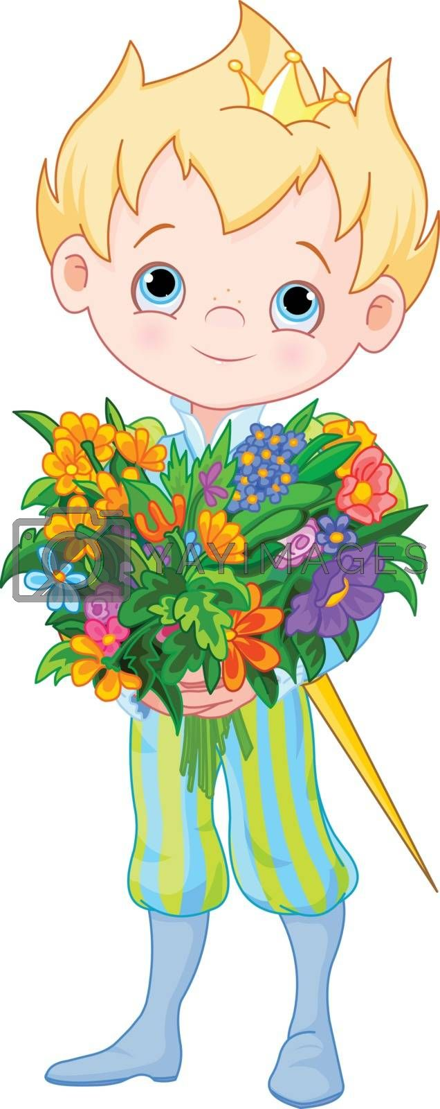 Royalty free image of Cute Little Prince Holds Flowers by Dazdraperma