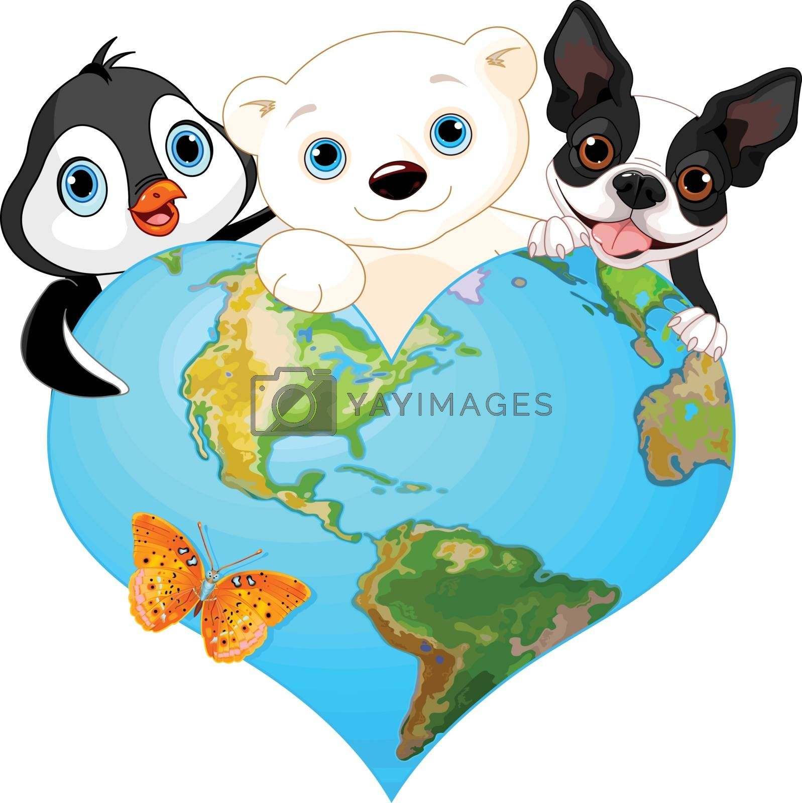 Royalty free image of Earth heart with animals by Dazdraperma