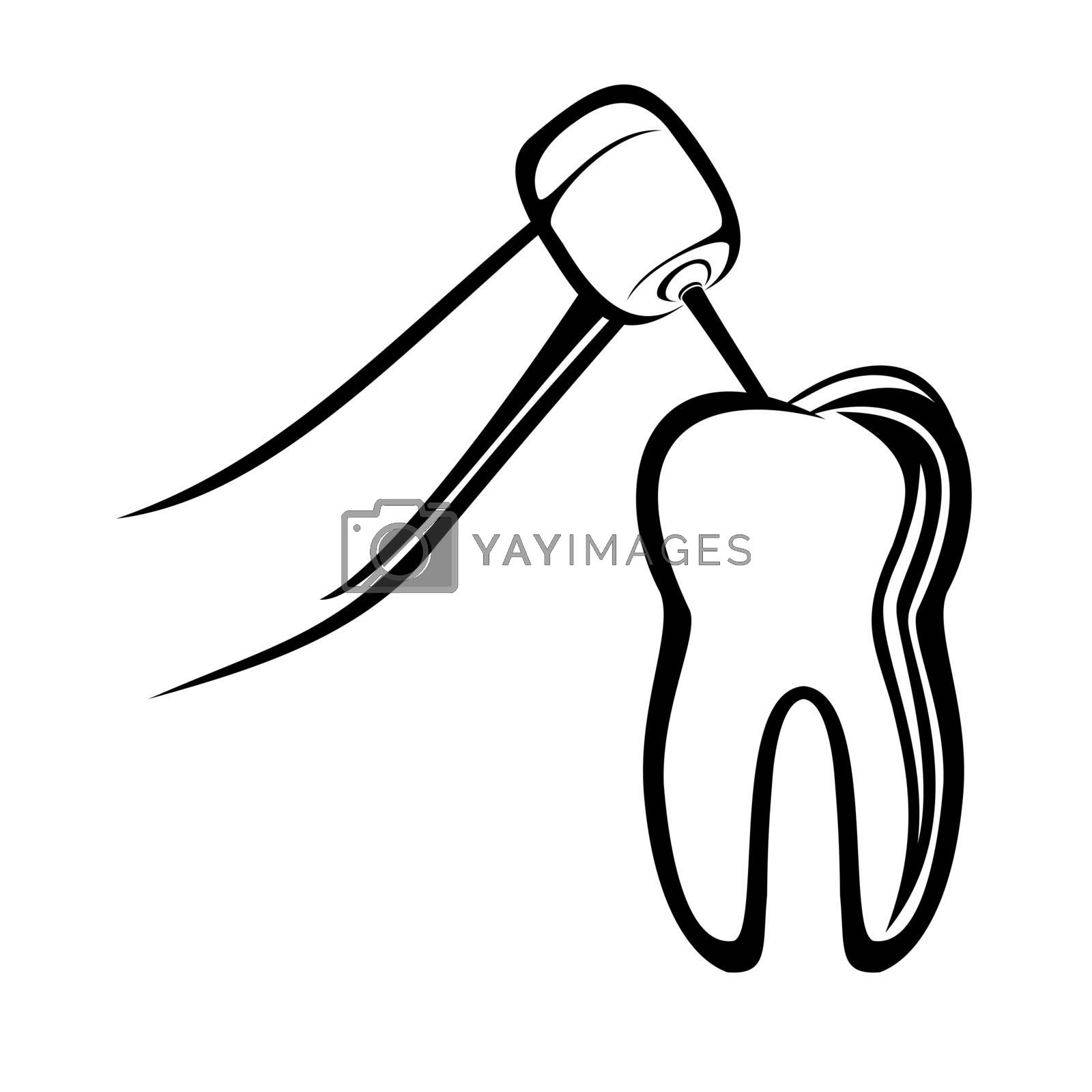 Vector illustration : Dentist drill on a white background.