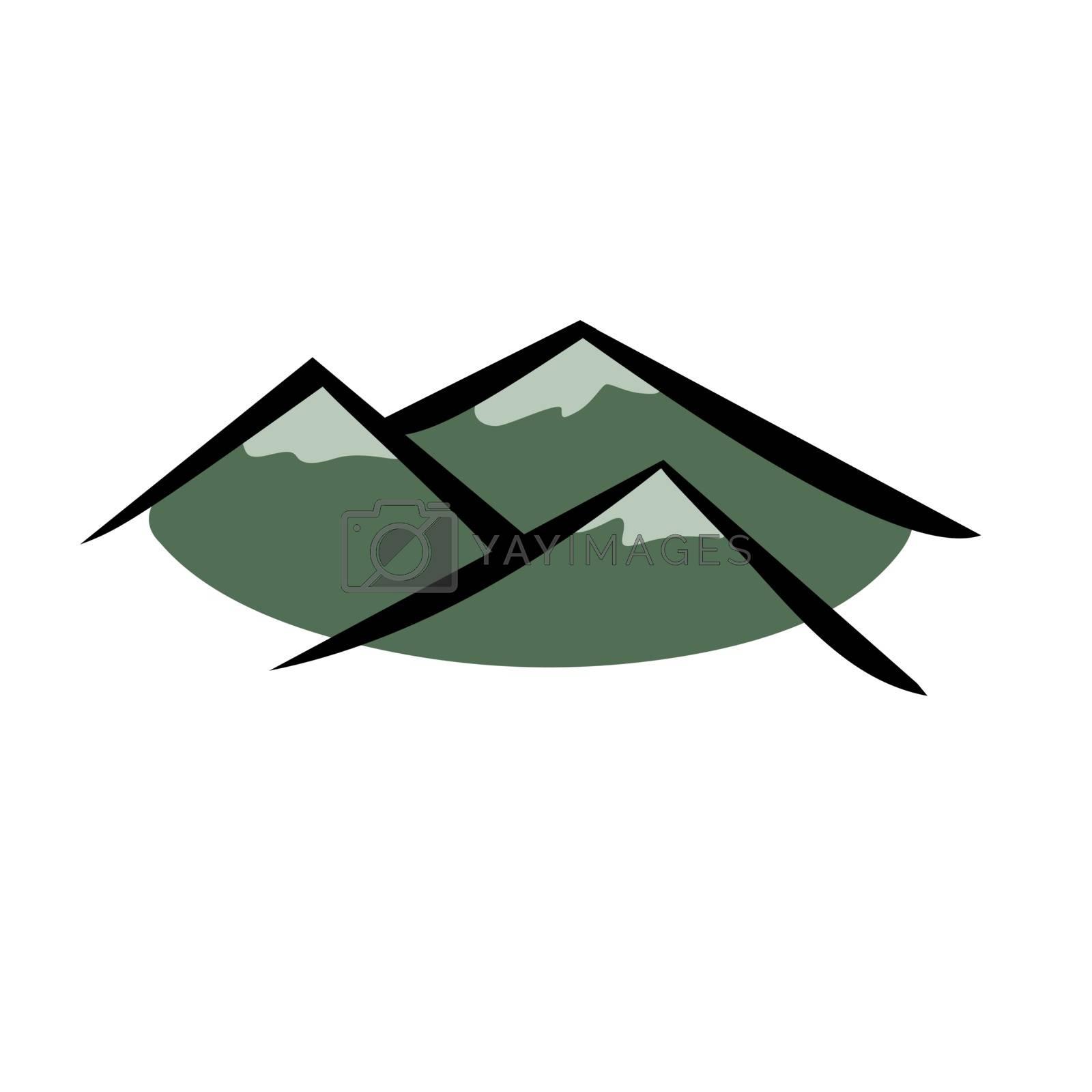 Vector illustration : Mountain logo on a white background.