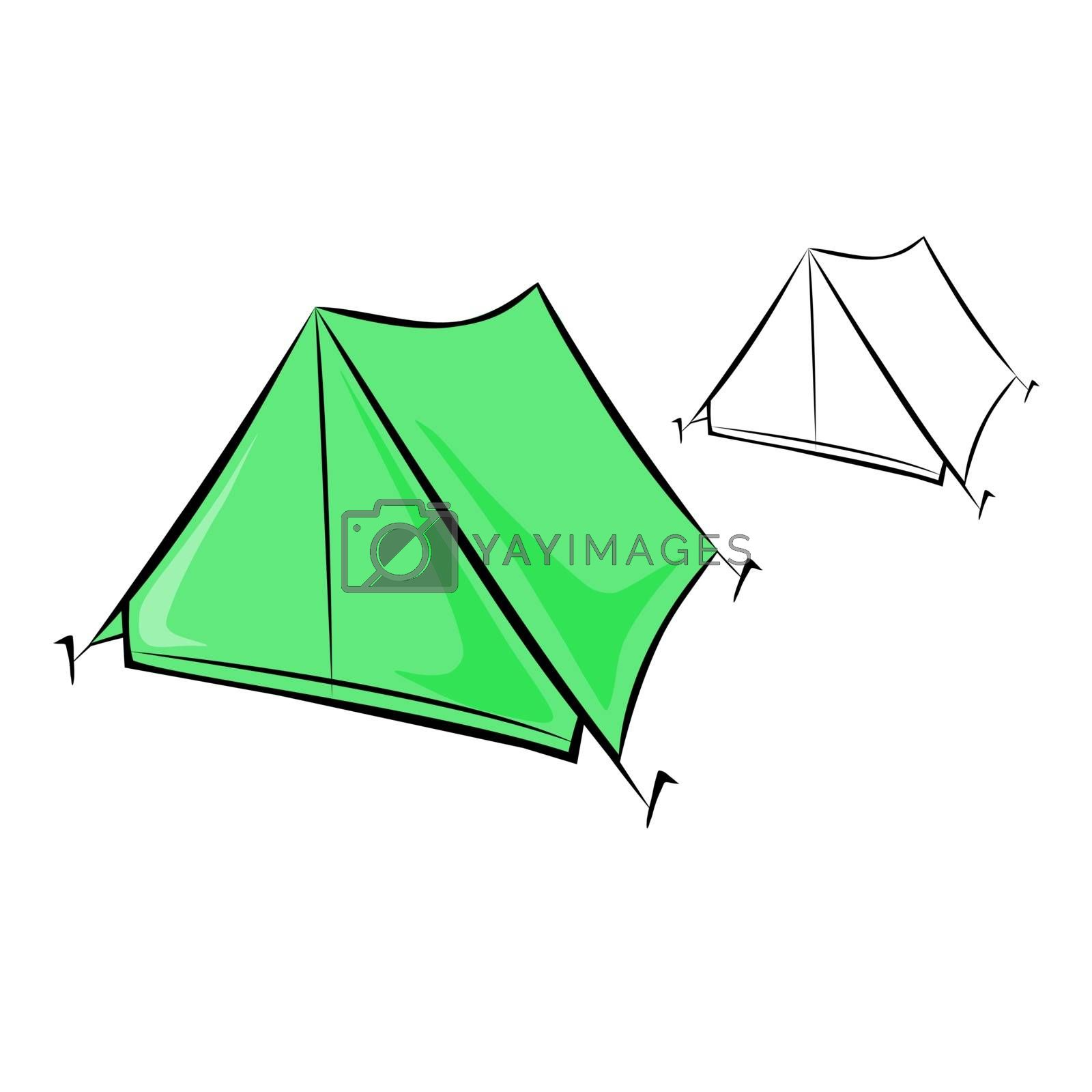 Vector illustration : Travel tent on a white background.