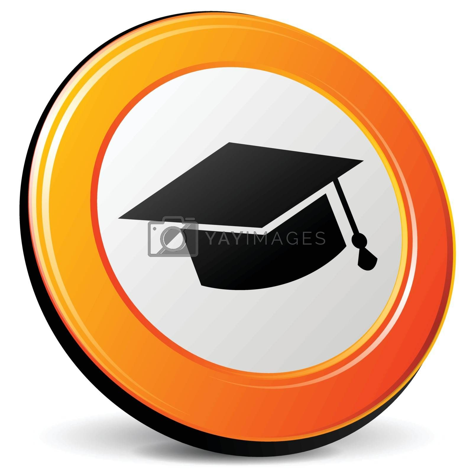 illustration of education 3d design orange icon
