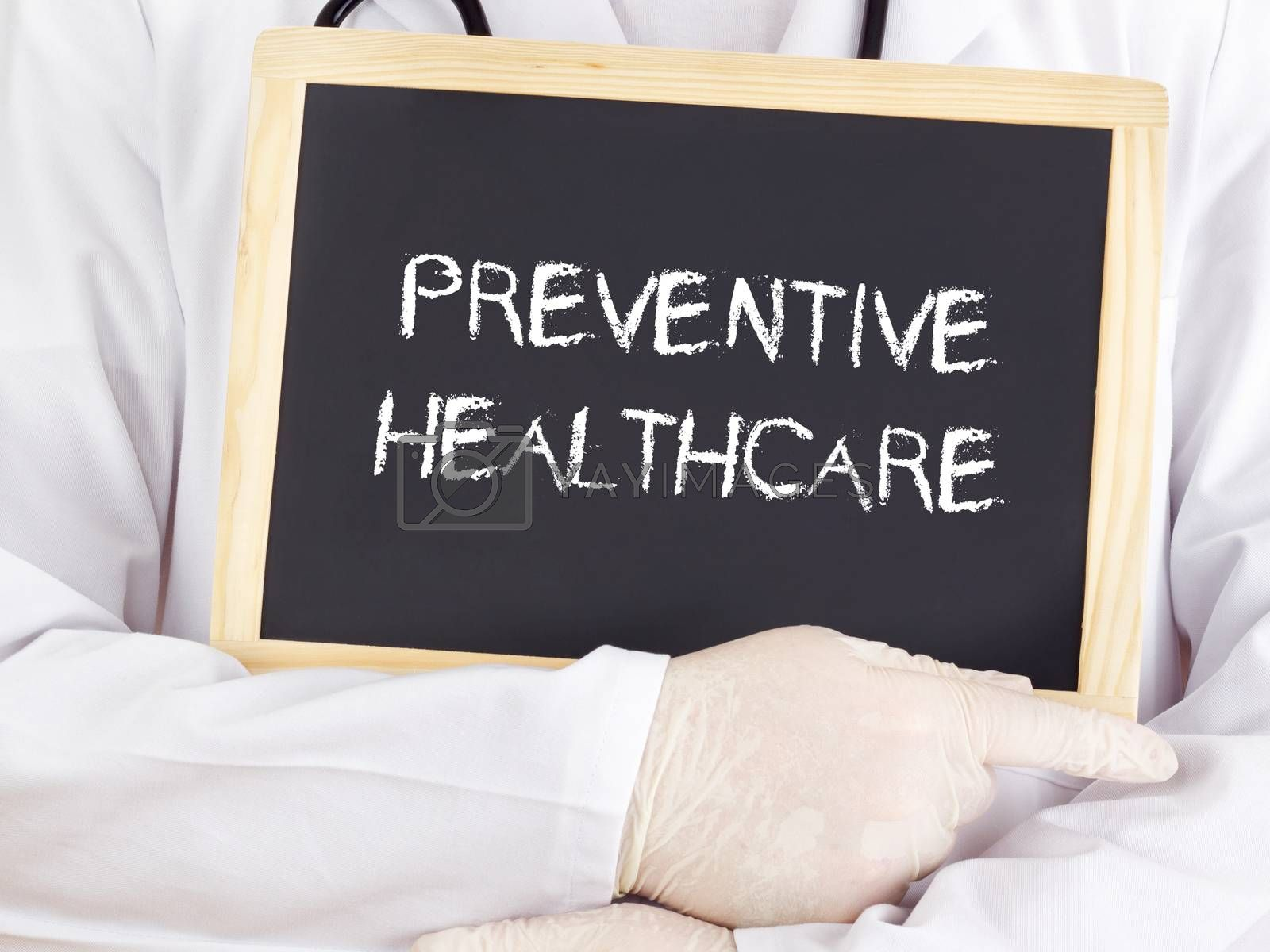 Doctor shows information: preventive healthcare