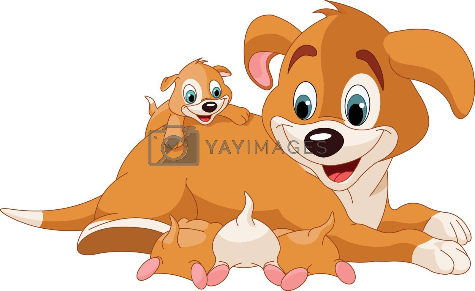 Royalty free image of Mother dog nursing cute puppies by Dazdraperma