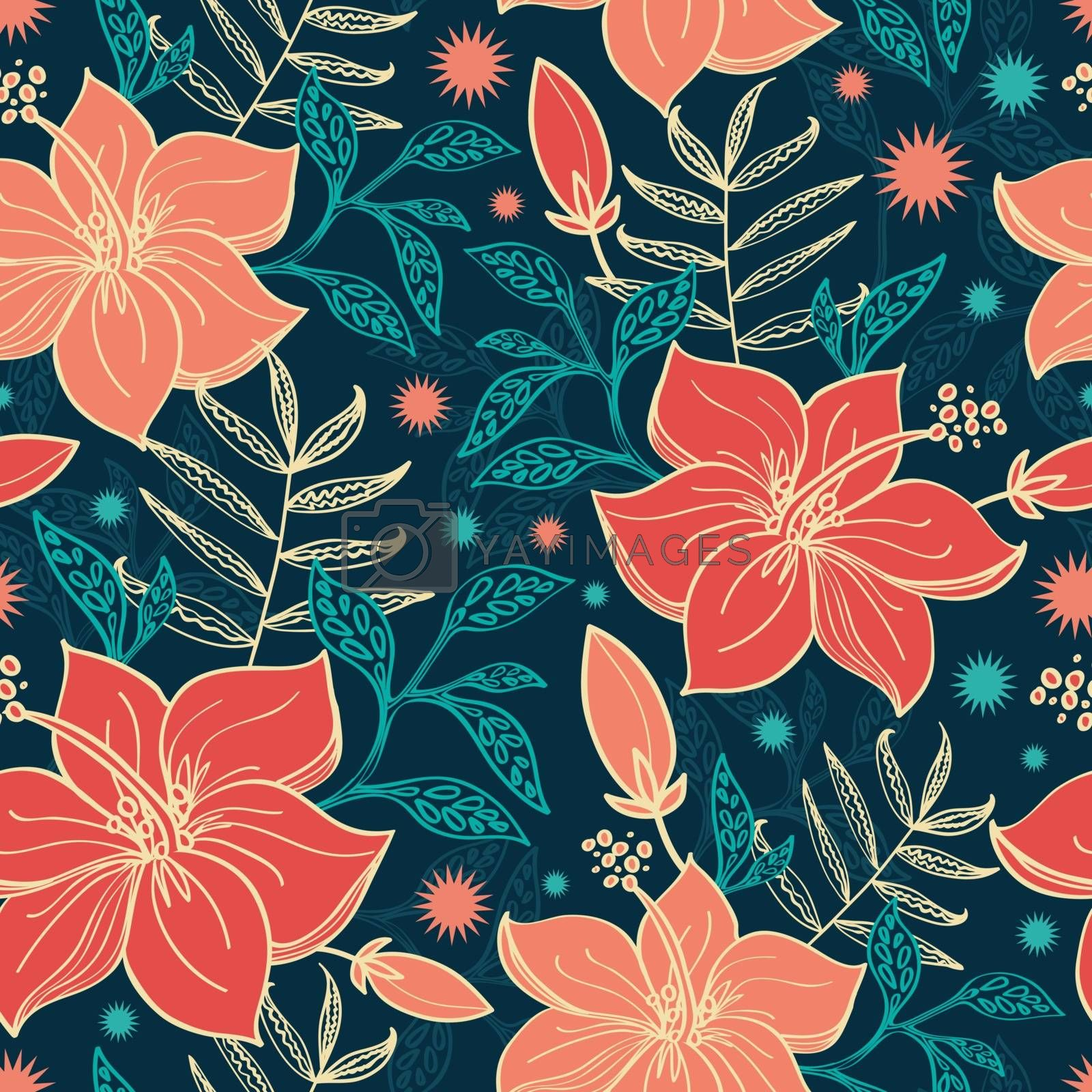 Vector vibrant tropical hibiscus flowers seamless pattern background graphic design