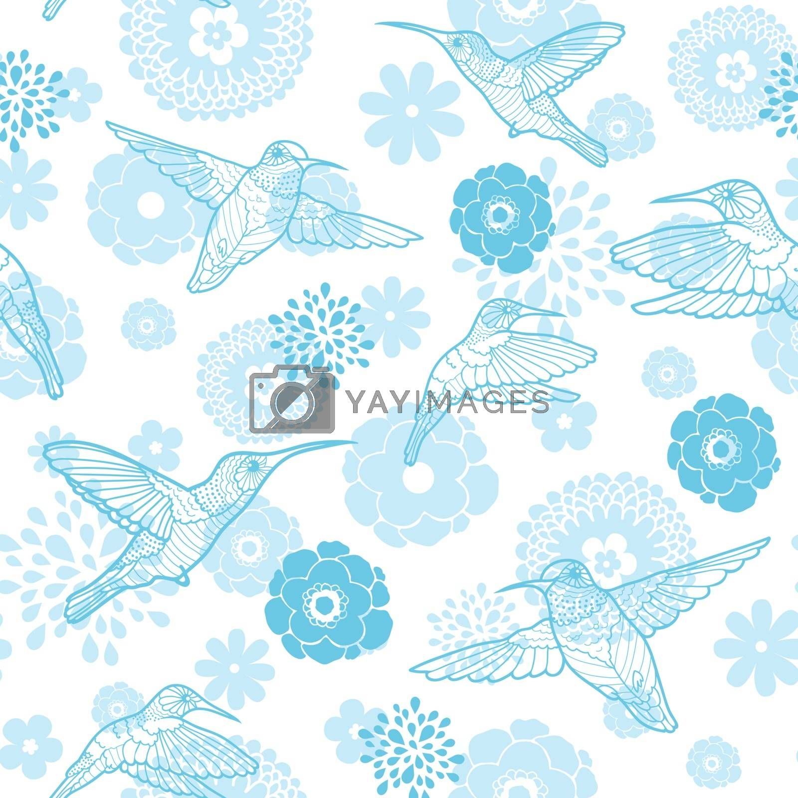 Vector blue hummingbirds and flowers lineart seamless pattern background graphic design