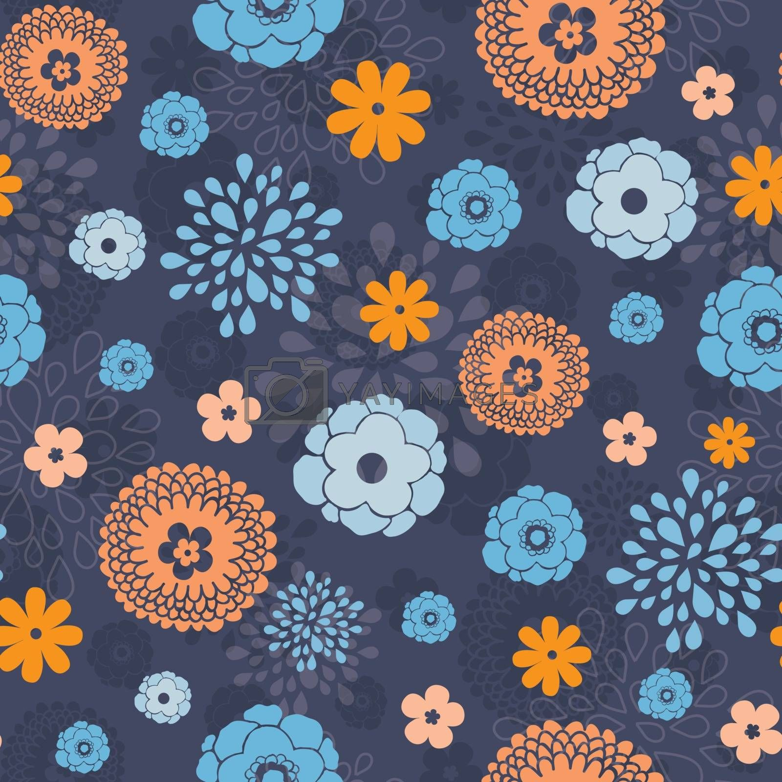 Vector golden and blue night flowers seamless pattern background graphic design