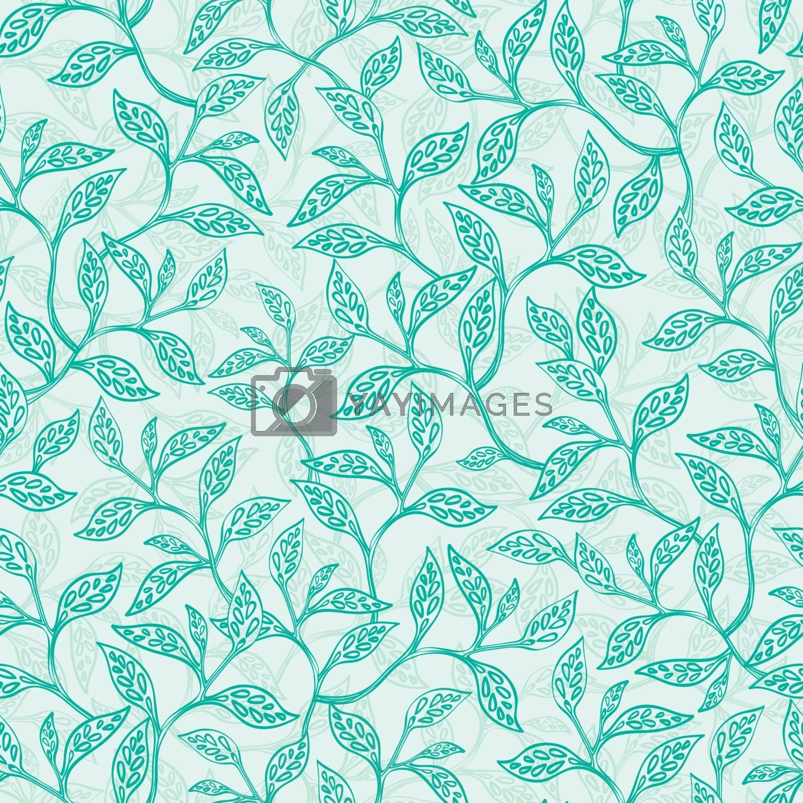 Vector green branches texture seamless pattern background graphic design