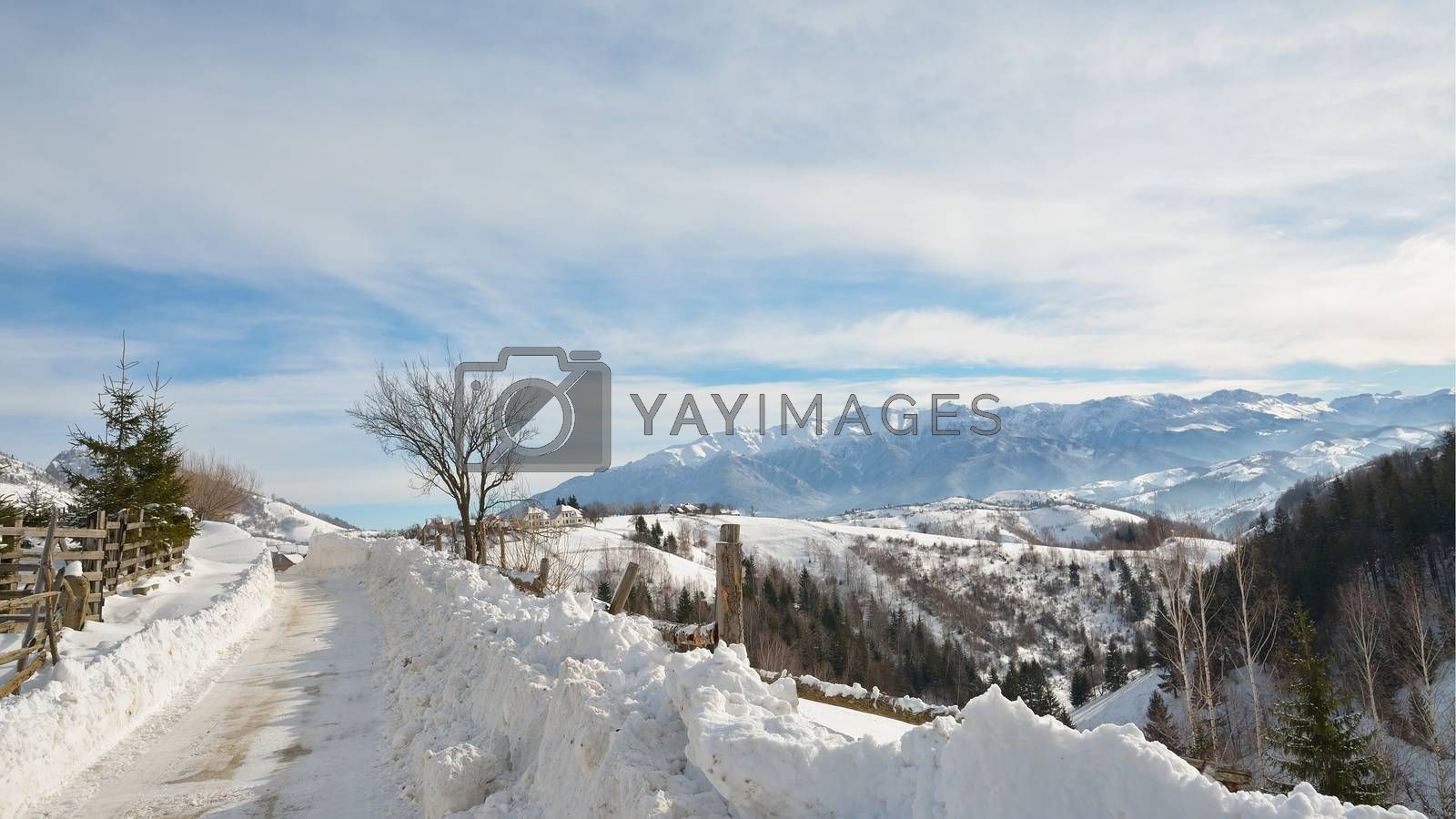 Snowy road in the village of Magura