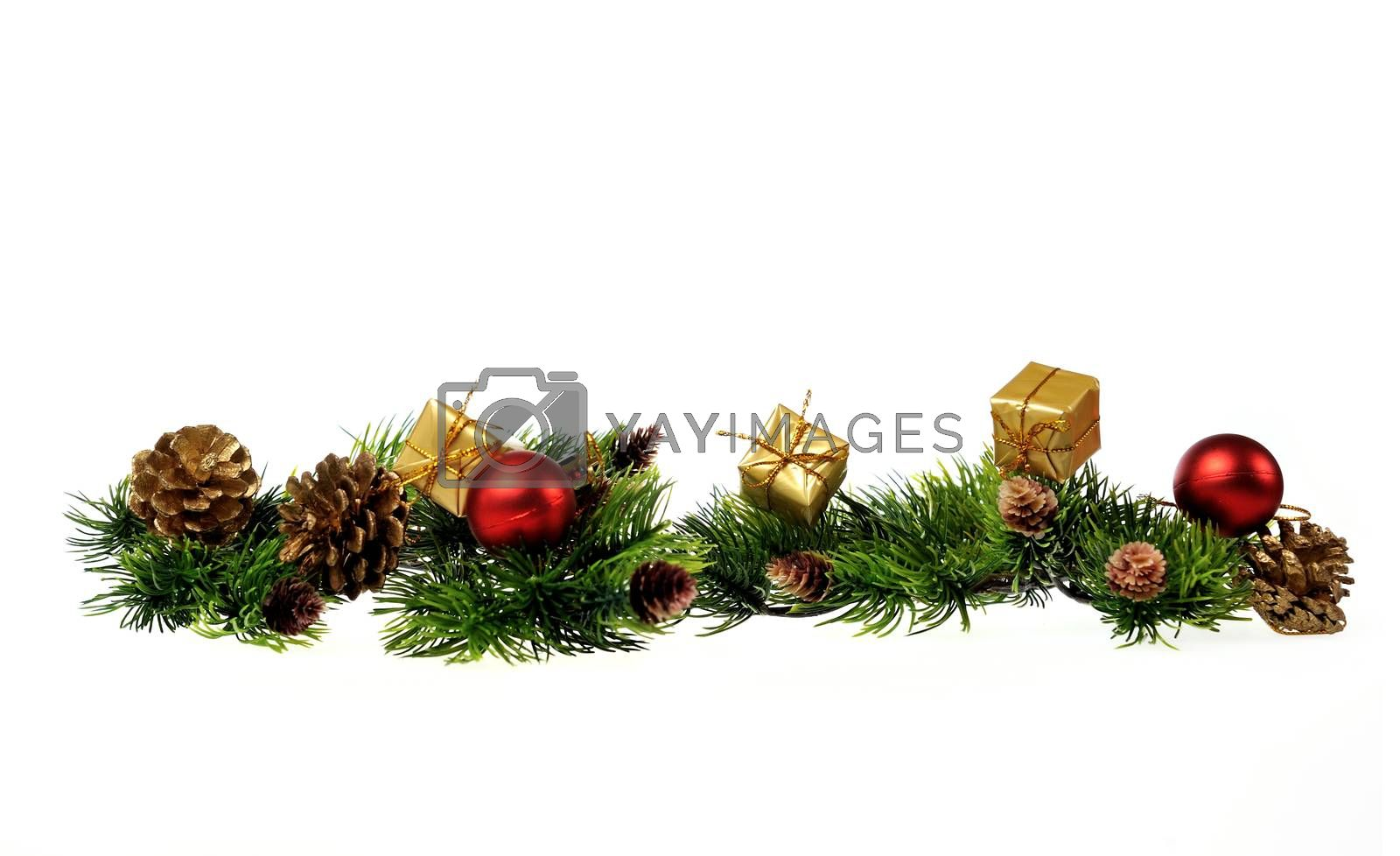 Christmas decoration of Christmas trees, gifts, cones on a white background