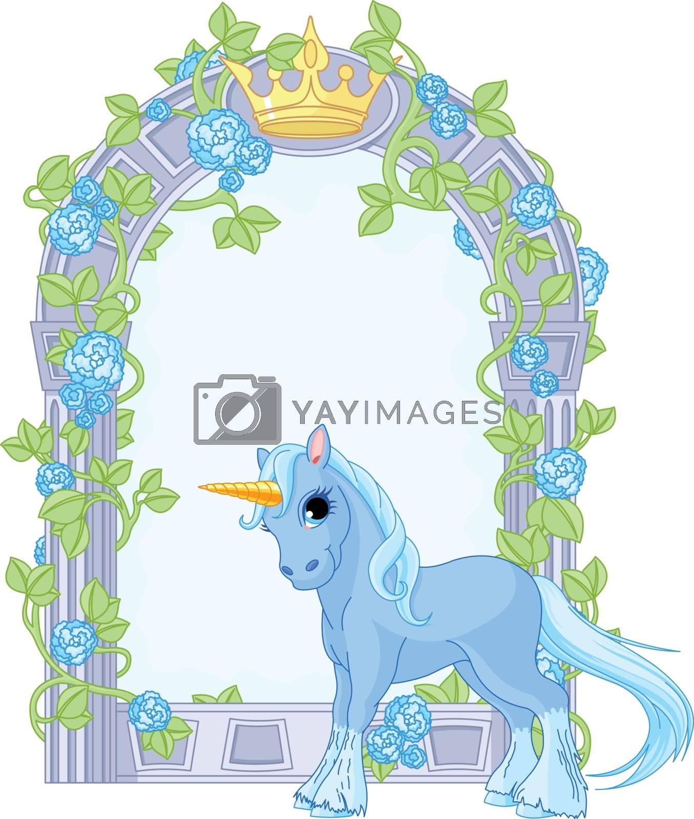 Royalty free image of Unicorn close to flower frame by Dazdraperma