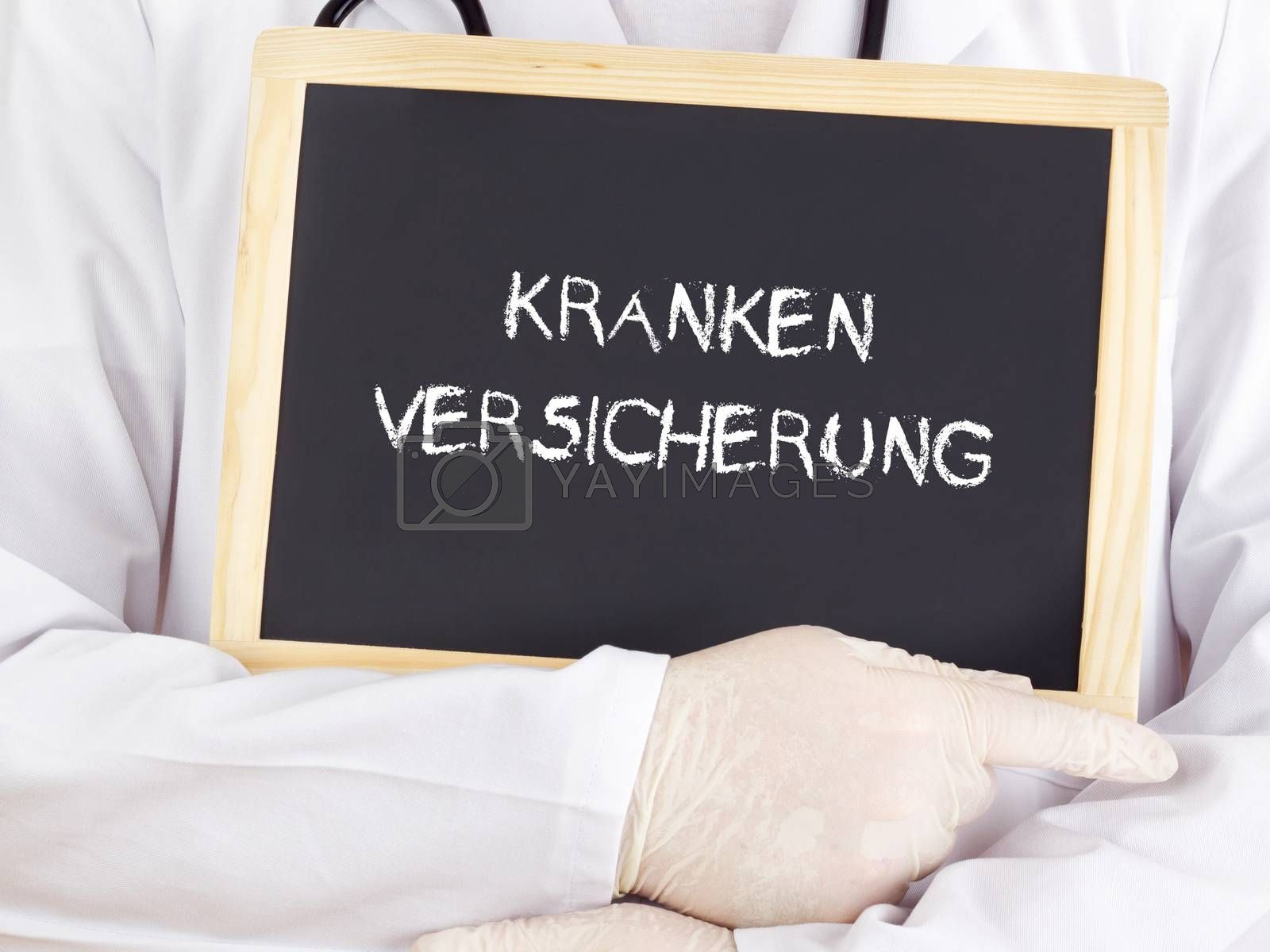 Doctor shows information: health insurance in german